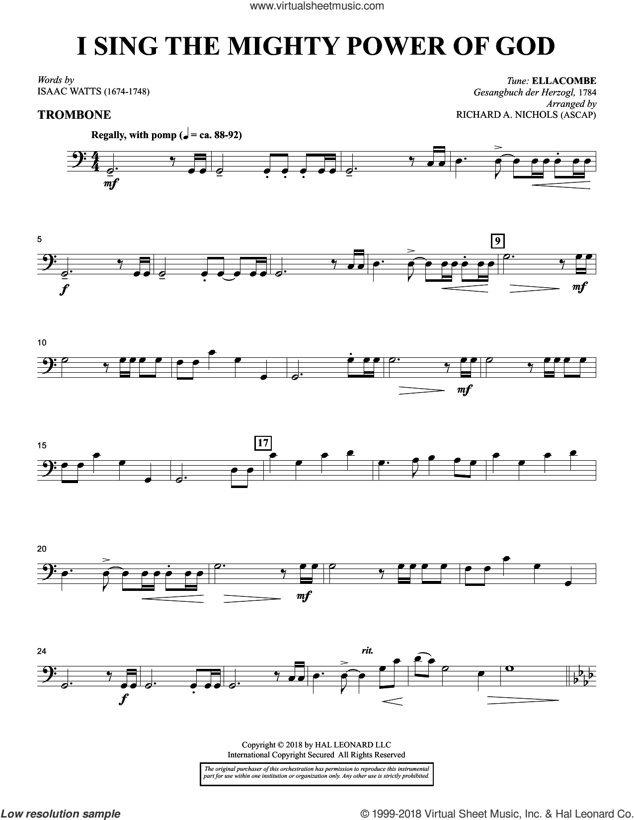 I Sing the Mighty Power of God (arr. Richard Nichols) sheet music for orchestra/band (trombone) by Isaac Watts and Richard A. Nichols, intermediate skill level