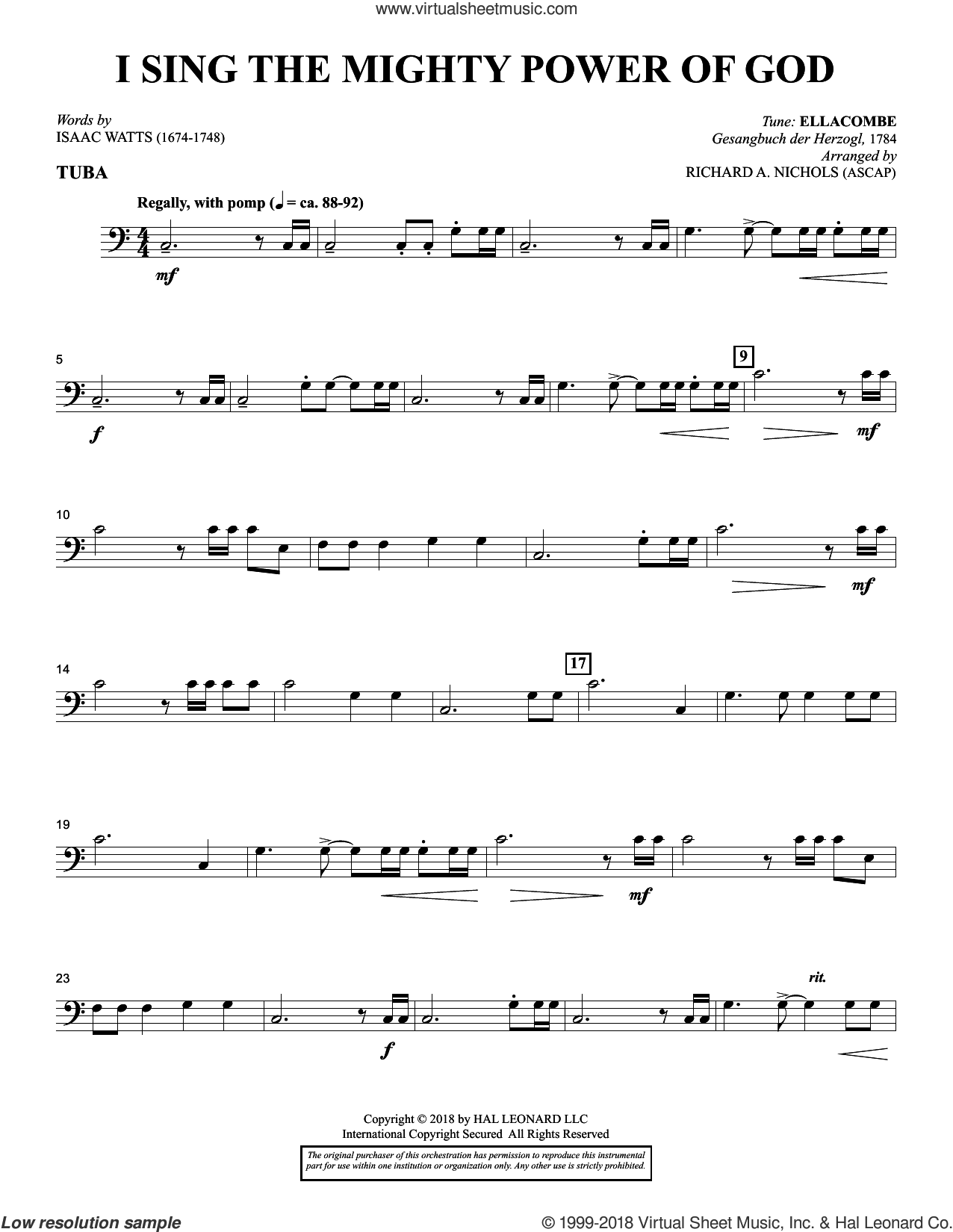 I Sing the Mighty Power of God (arr. Richard Nichols) sheet music for orchestra/band (tuba) by Isaac Watts and Richard A. Nichols, intermediate skill level