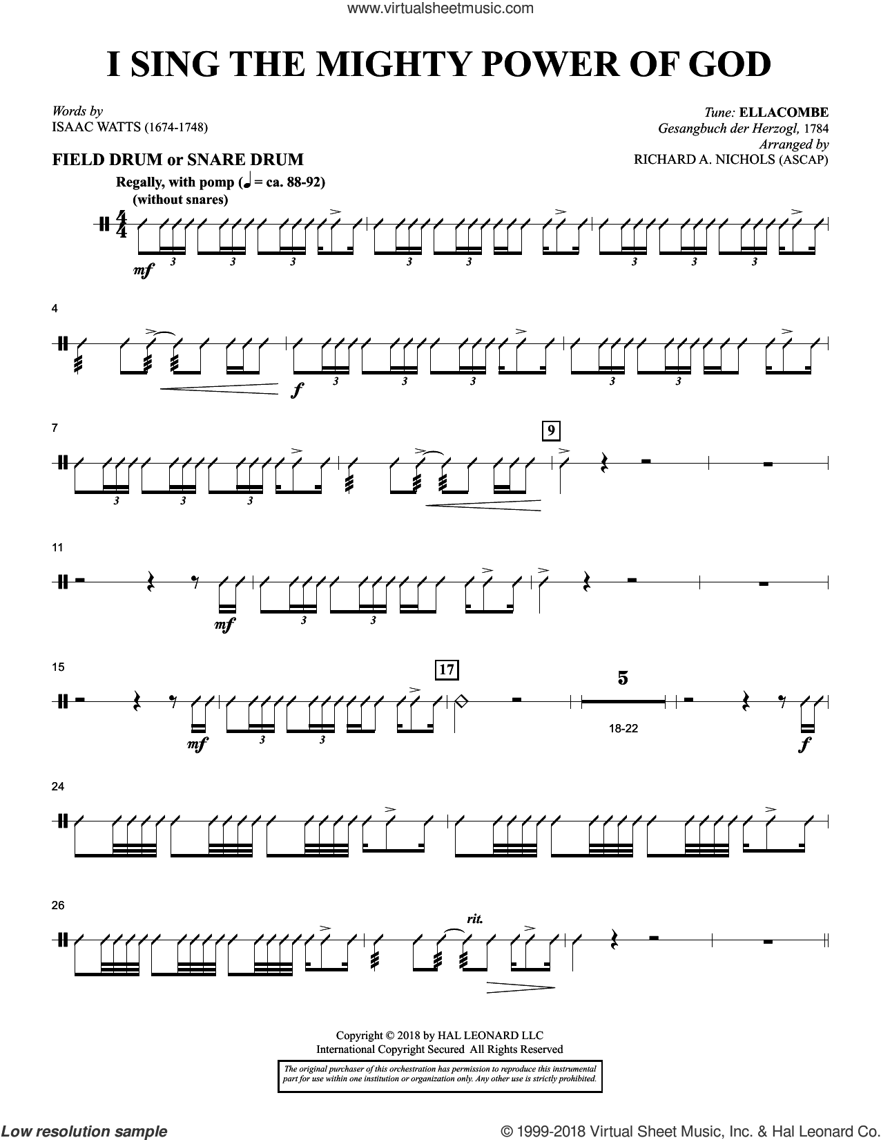I Sing the Mighty Power of God (arr. Richard Nichols) sheet music for orchestra/band (snare drum/field drum) by Isaac Watts and Richard A. Nichols, intermediate skill level