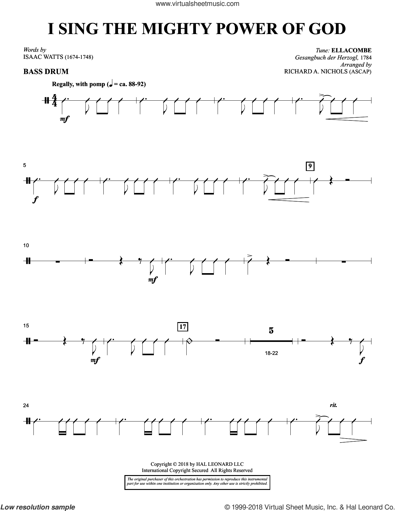 I Sing the Mighty Power of God (arr. Richard Nichols) sheet music for orchestra/band (bass drum) by Isaac Watts and Richard A. Nichols, intermediate skill level