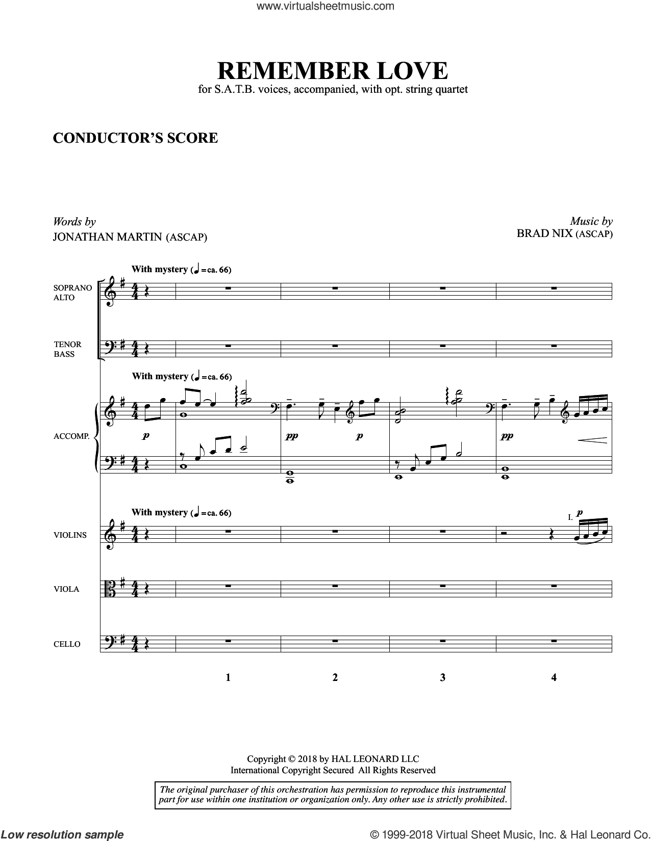 Remember Love (COMPLETE) sheet music for orchestra/band (Strings) by Brad Nix and Jonathan Martin, intermediate skill level