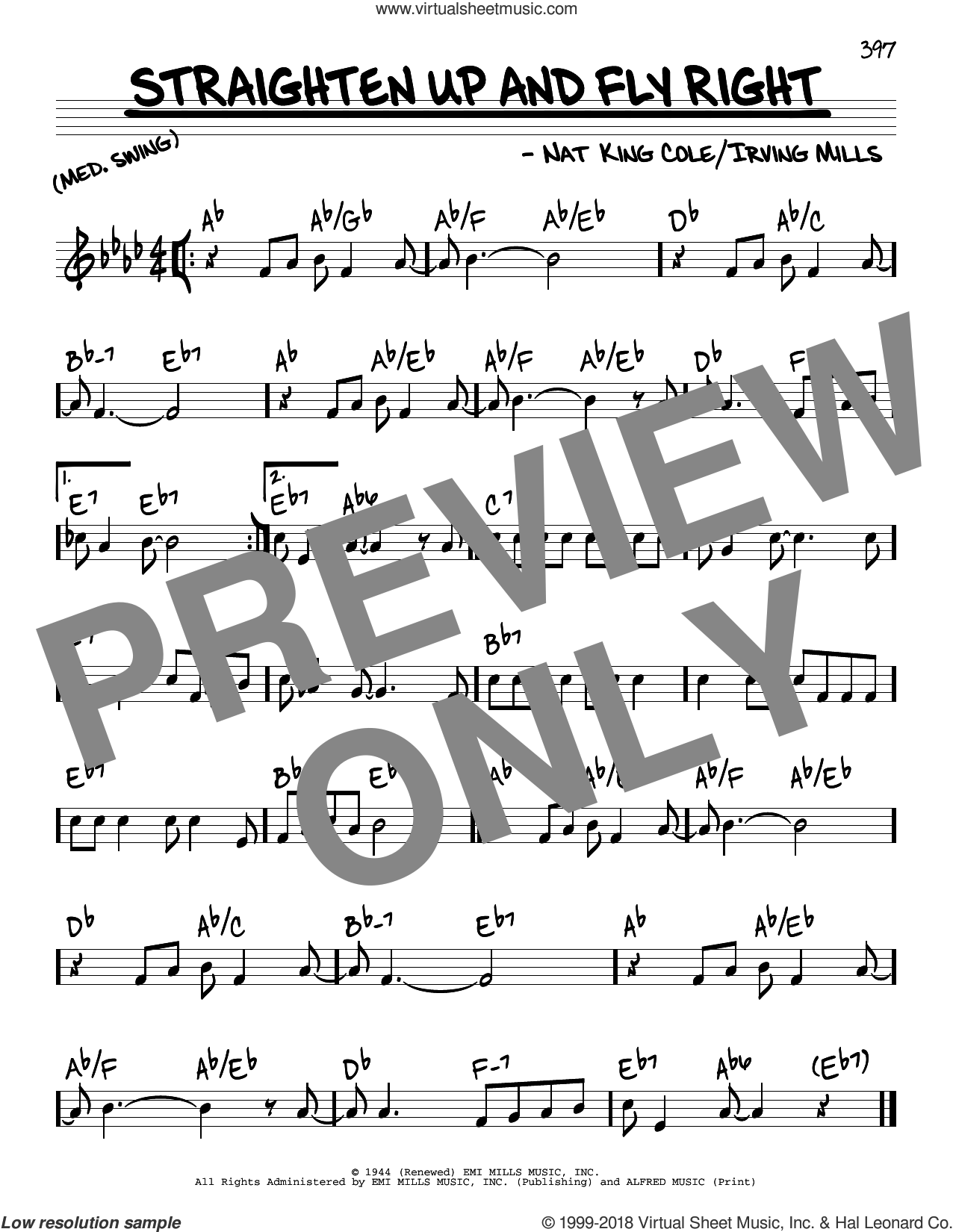 Straighten Up And Fly Right sheet music for voice and other instruments (real book) by Nat King Cole and Irving Mills, intermediate skill level