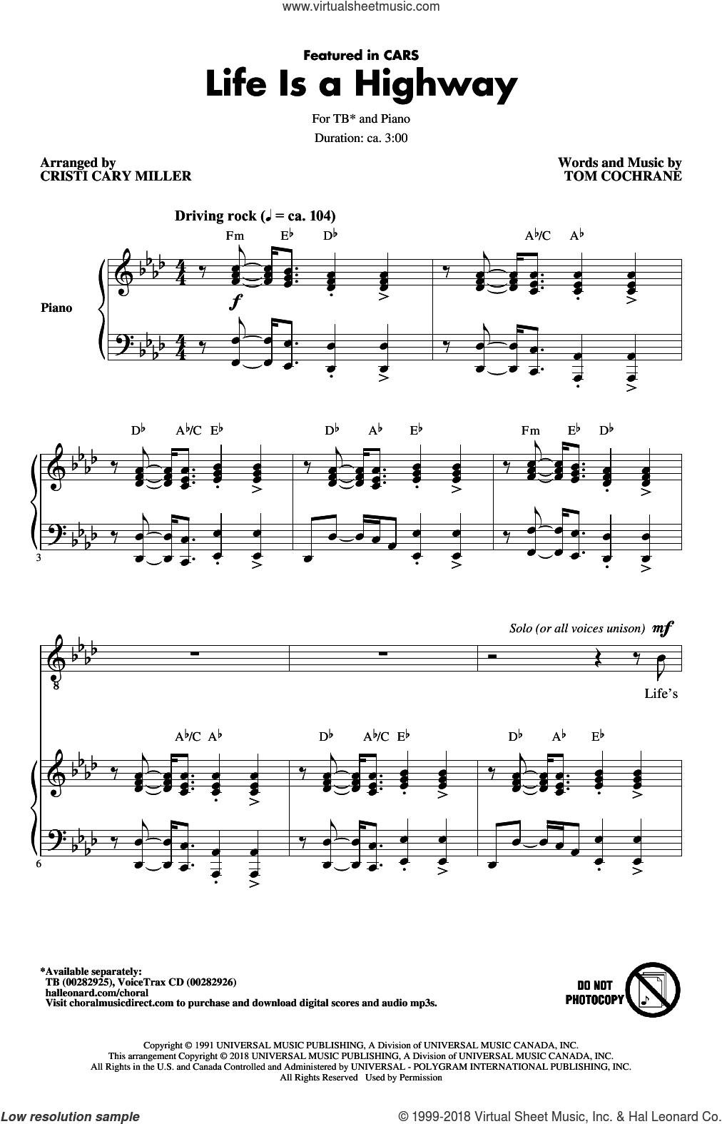 Life Is A Highway (arr. Cristy Cari Miller) sheet music for choir (TB: tenor, bass) by Tom Cochrane, Cristi Cary Miller and Rascal Flatts, intermediate skill level