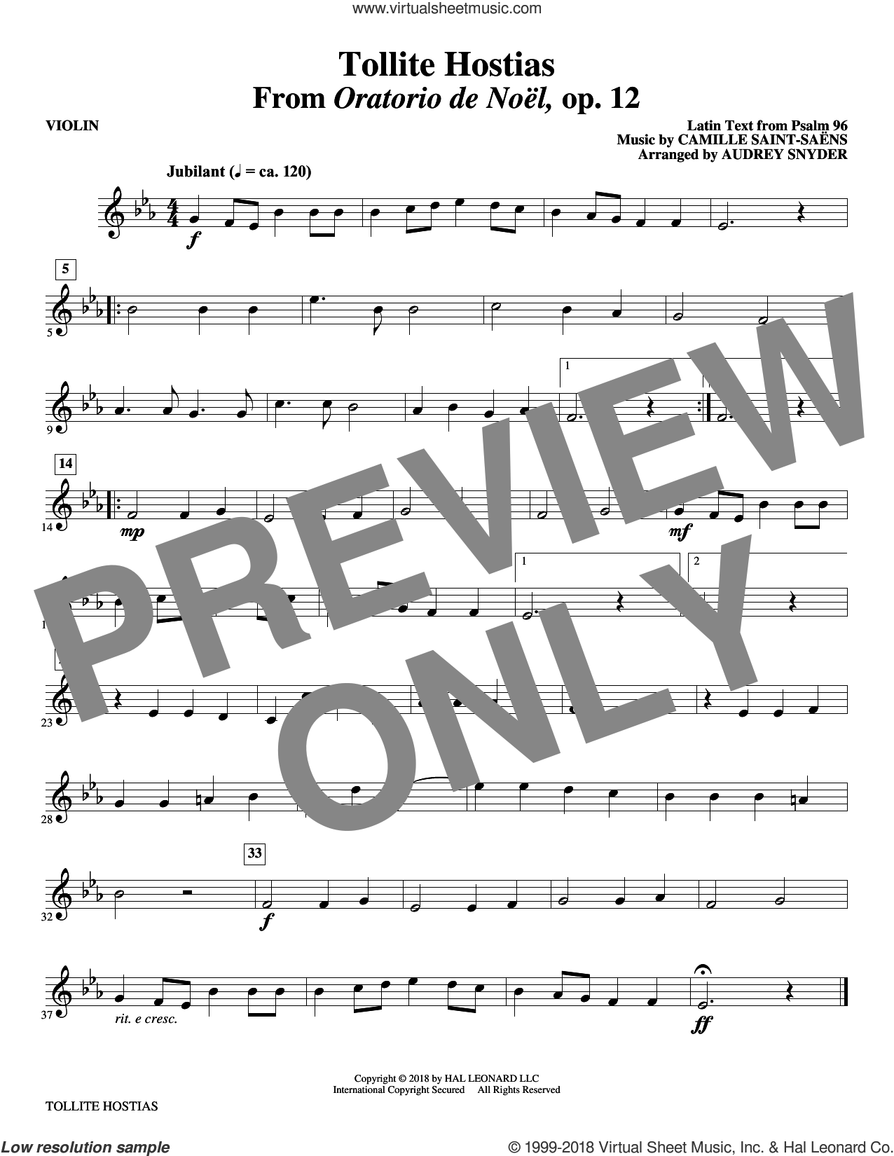 Tollite Hostias (arr. Audrey Snyder) (complete set of parts) sheet music for orchestra/band (Strings) by Audrey Snyder, Camille Saint-Saens and Psalm 96, intermediate skill level