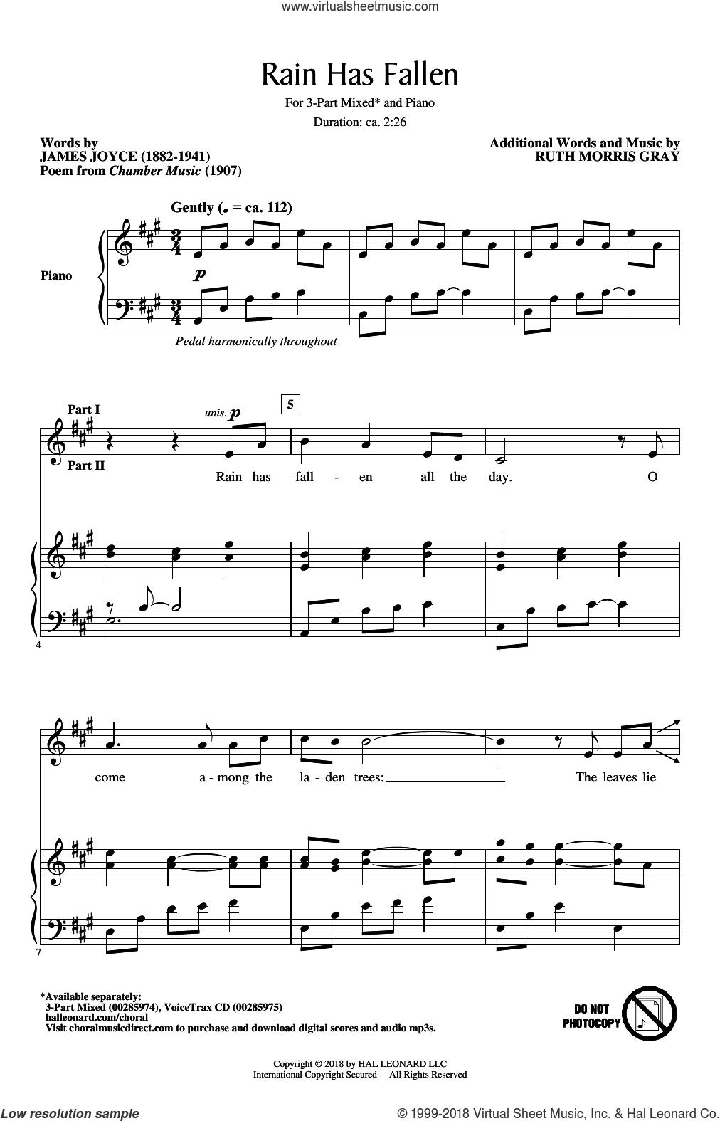 Rain Has Fallen sheet music for choir (3-Part Mixed) by Ruth Morris Gray and James Joyce, intermediate skill level