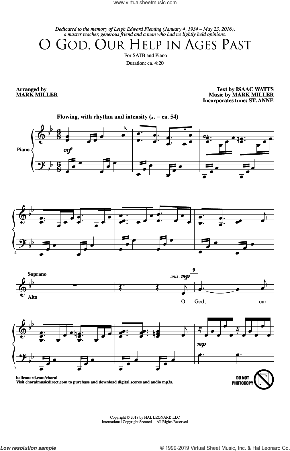 O God, Our Help In Ages Past sheet music for choir (SATB: soprano, alto, tenor, bass) by Isaac Watts and Mark Miller, intermediate skill level