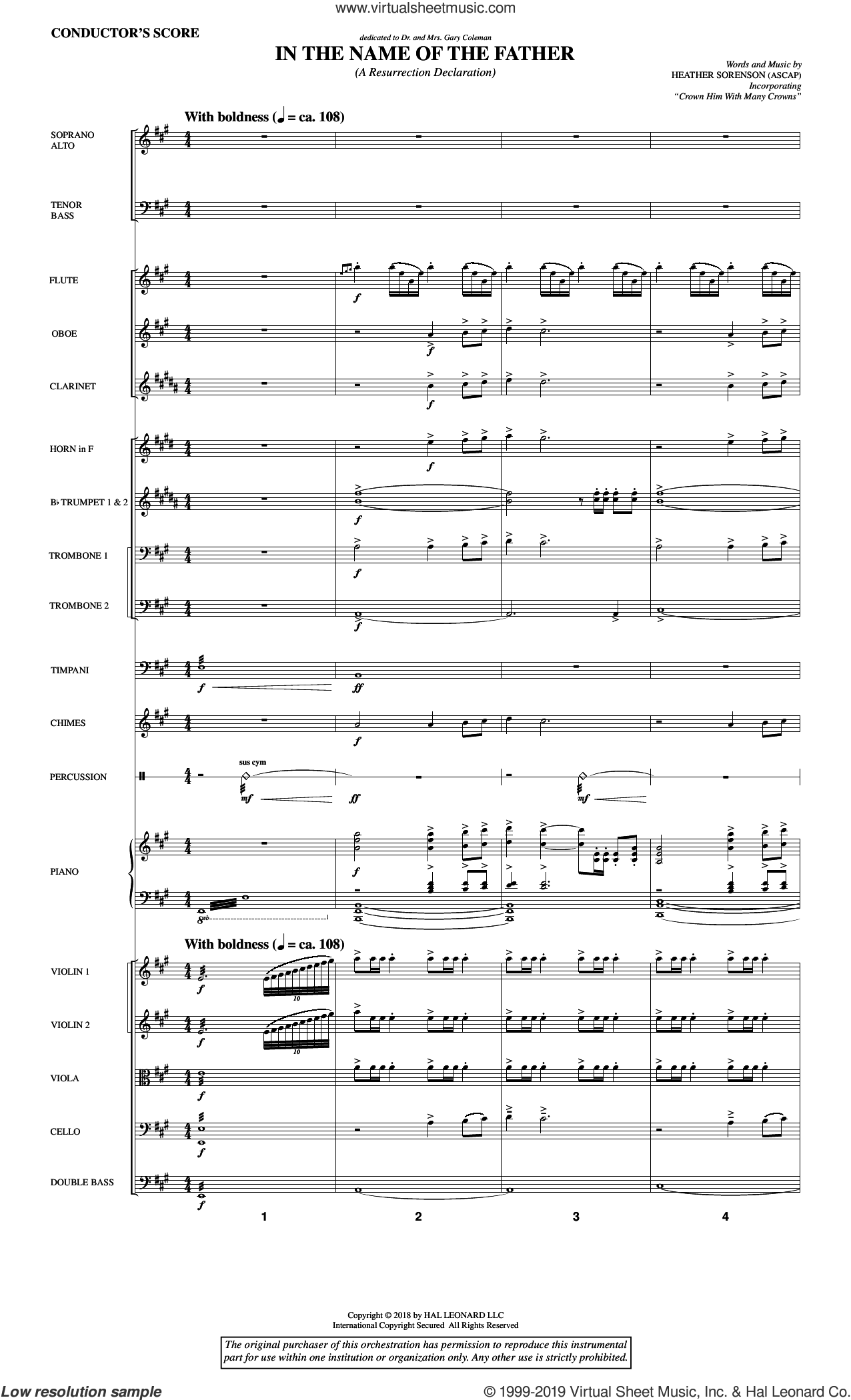 In the Name of the Father (A Resurrection Declaration) (COMPLETE) sheet music for orchestra/band by Heather Sorenson, intermediate skill level