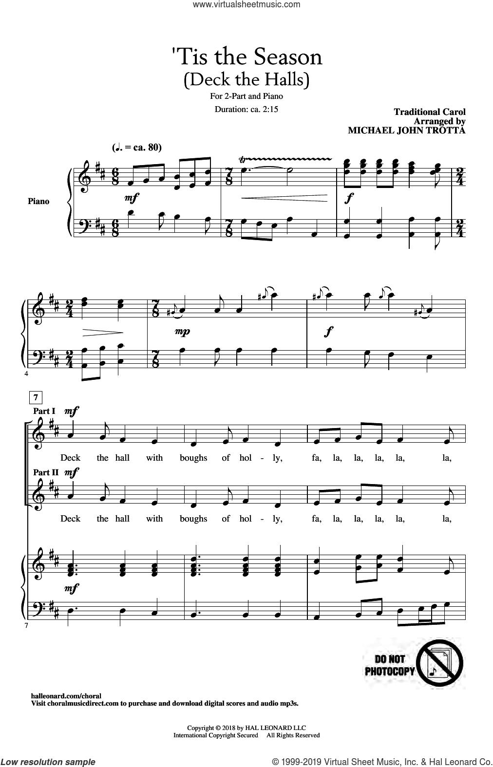 'Tis The Season (Deck The Halls) (arr. Michael John Trotta) sheet music for choir (2-Part)  and Michael John Trotta, intermediate duet