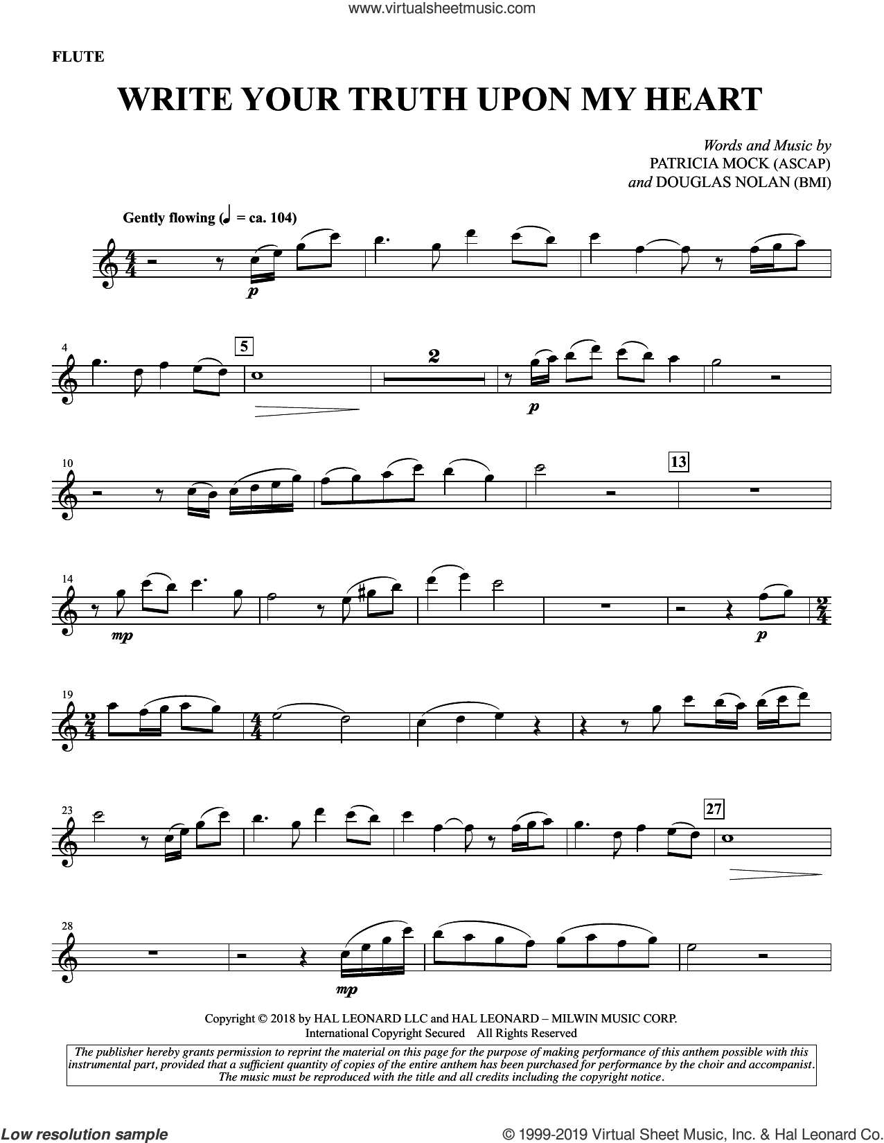 Write Your Truth Upon My Heart sheet music for choir by Patricia Mock & Douglas Nolan, intermediate skill level