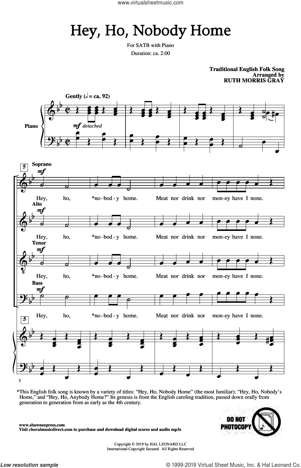 Hey Ho, Nobody Home (arr. Ruth Morris Gray) sheet music for choir (SATB: soprano, alto, tenor, bass) by Traditional English Folk Song and Ruth Morris Gray, intermediate skill level