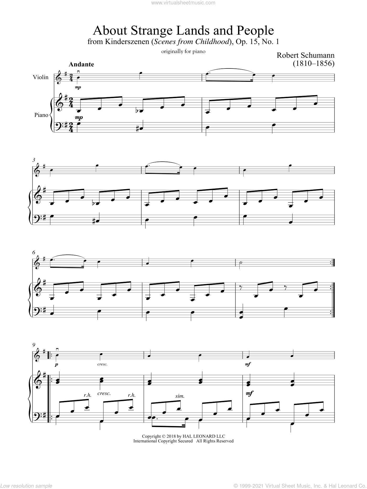 Of Strange Lands And People, Op. 15, No. 1 sheet music for violin and piano by Robert Schumann, classical score, intermediate skill level