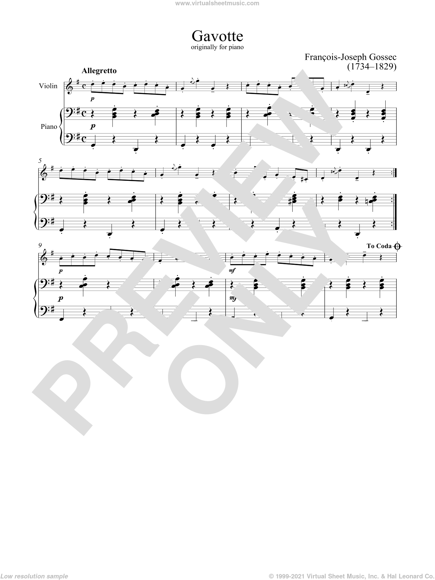 Gavotte sheet music for violin and piano by Francois-Joseph Gossec, classical score, intermediate skill level