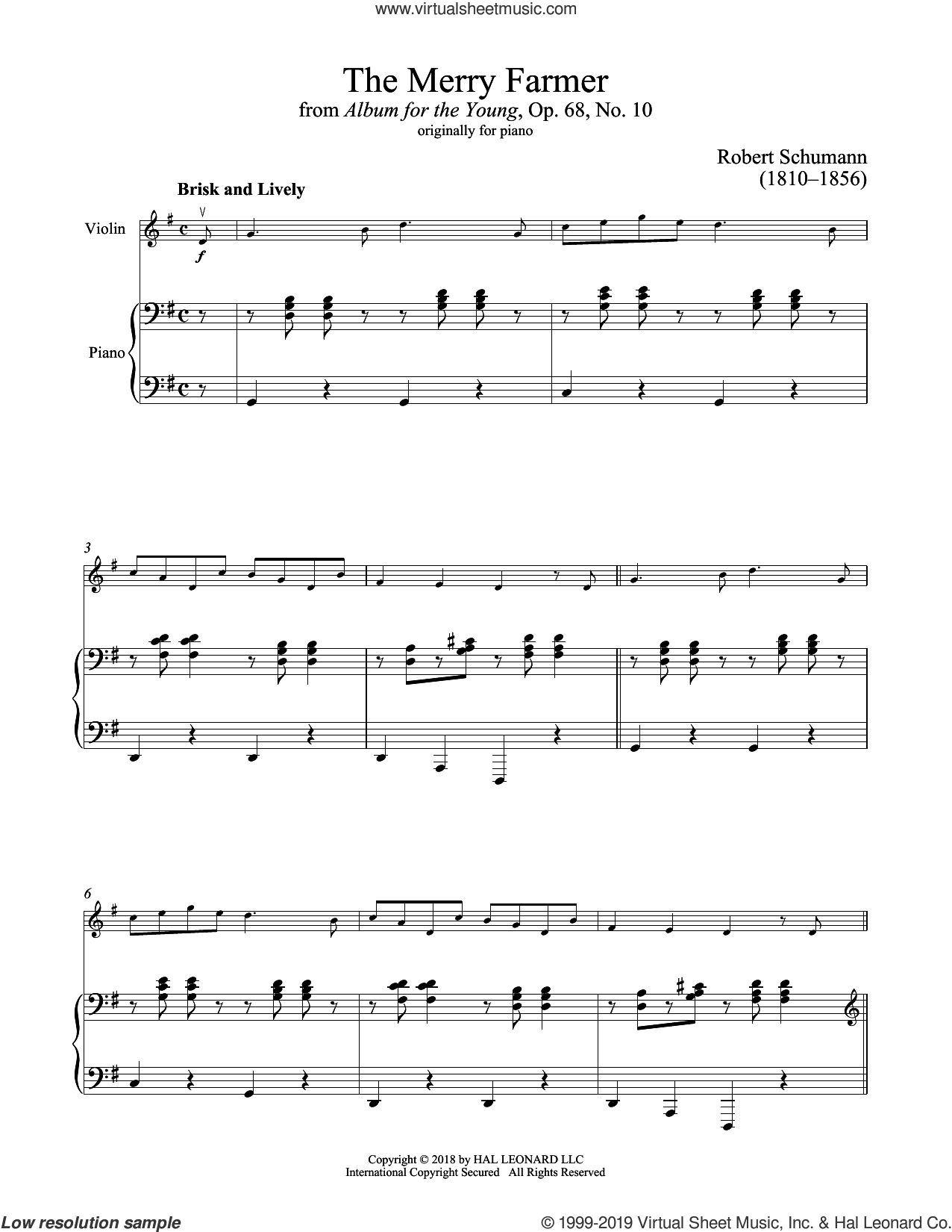 The Happy Farmer sheet music for violin and piano by Robert Schumann, classical score, intermediate skill level