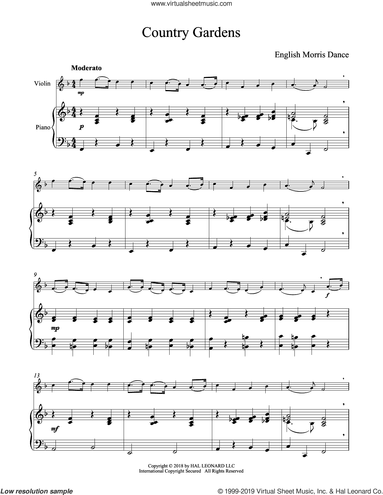 Country Gardens sheet music for violin and piano, classical score, intermediate skill level