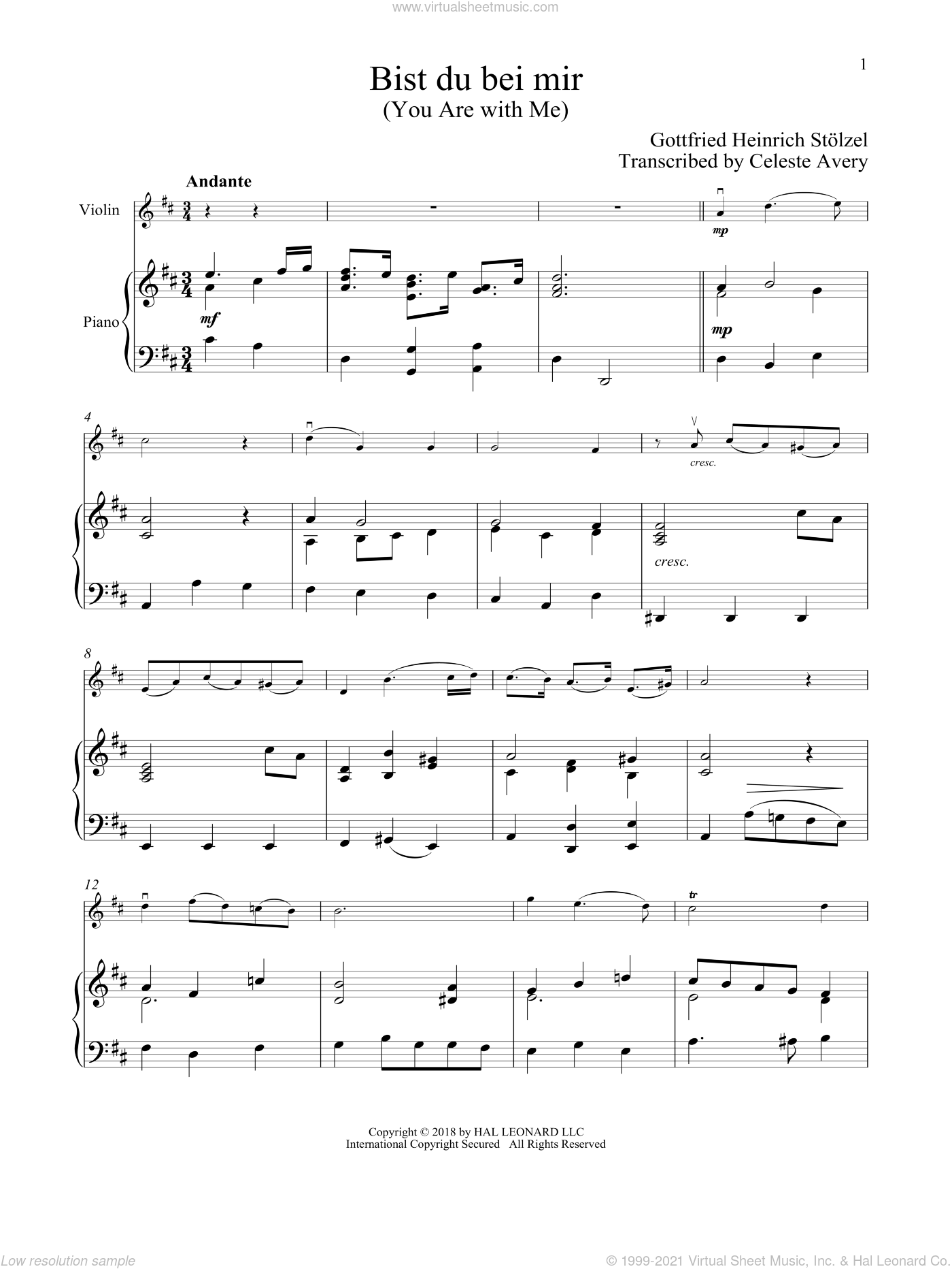 Bist du bei mir (You Are With Me) sheet music for violin and piano by Johann Sebastian Bach, classical wedding score, intermediate skill level