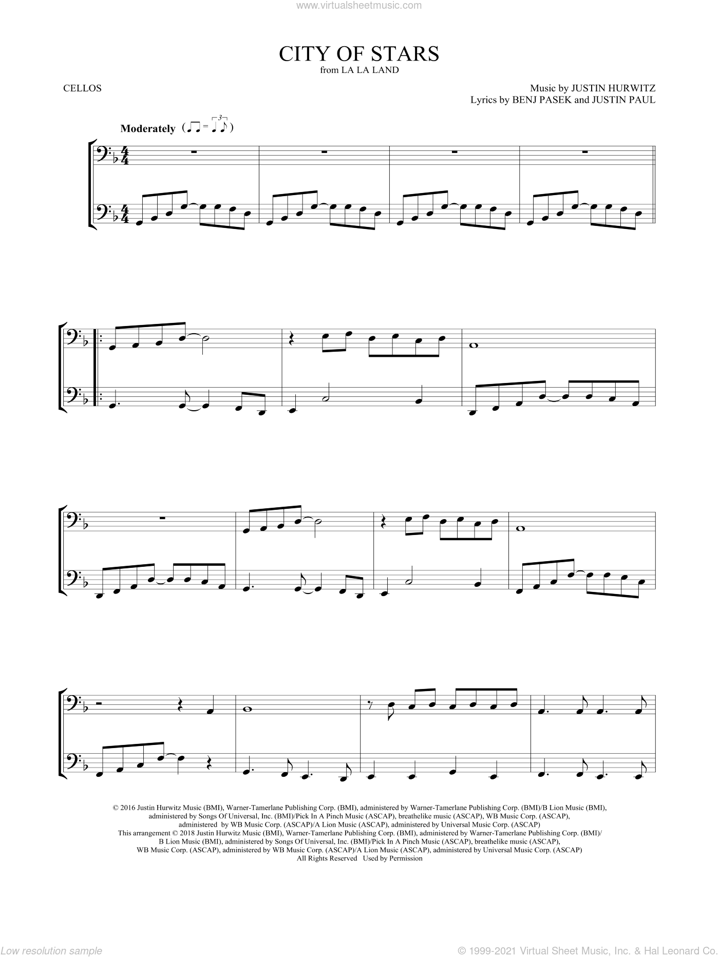 City of Stars (from La La Land) sheet music for two cellos (duet, duets) by Ryan Gosling & Emma Stone, Mark Phillips, Benj Pasek, Justin Hurwitz and Justin Paul, intermediate skill level