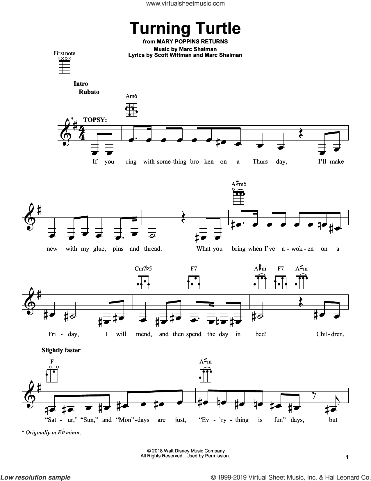 Turning Turtle (from Mary Poppins Returns) sheet music for ukulele by Meryl Streep & Company, Marc Shaiman and Scott Wittman, intermediate skill level