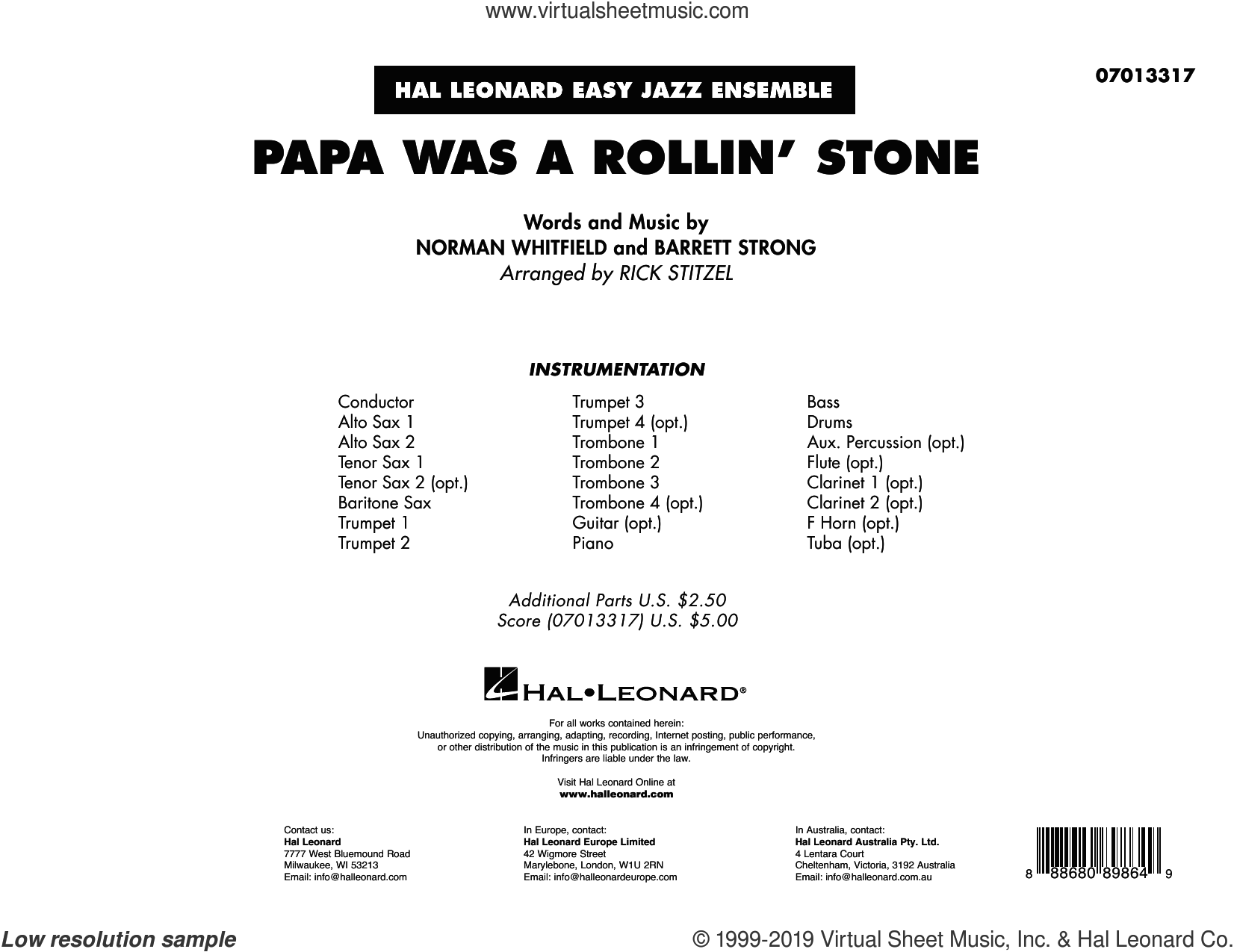 Papa Was a Rollin' Stone (COMPLETE) sheet music for jazz band by The Temptations, Barrett Strong, Norman Whitfield and Rick Stitzel, intermediate skill level
