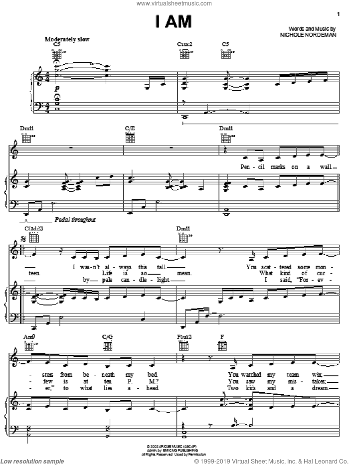 I Am sheet music for voice, piano or guitar by Nichole Nordeman. Score Image Preview.