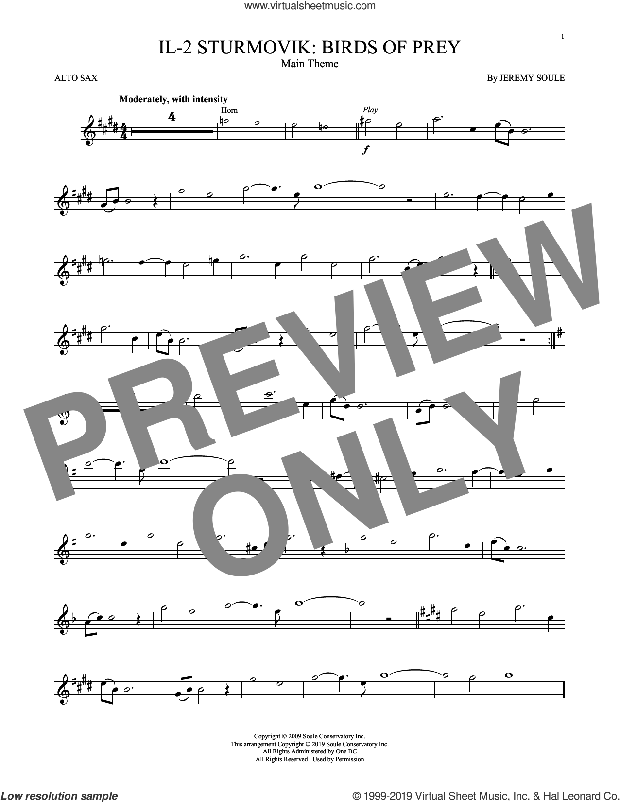 IL-2 Sturmovik: Birds of Prey - Main Theme sheet music for alto saxophone solo by Jeremy Soule, intermediate skill level