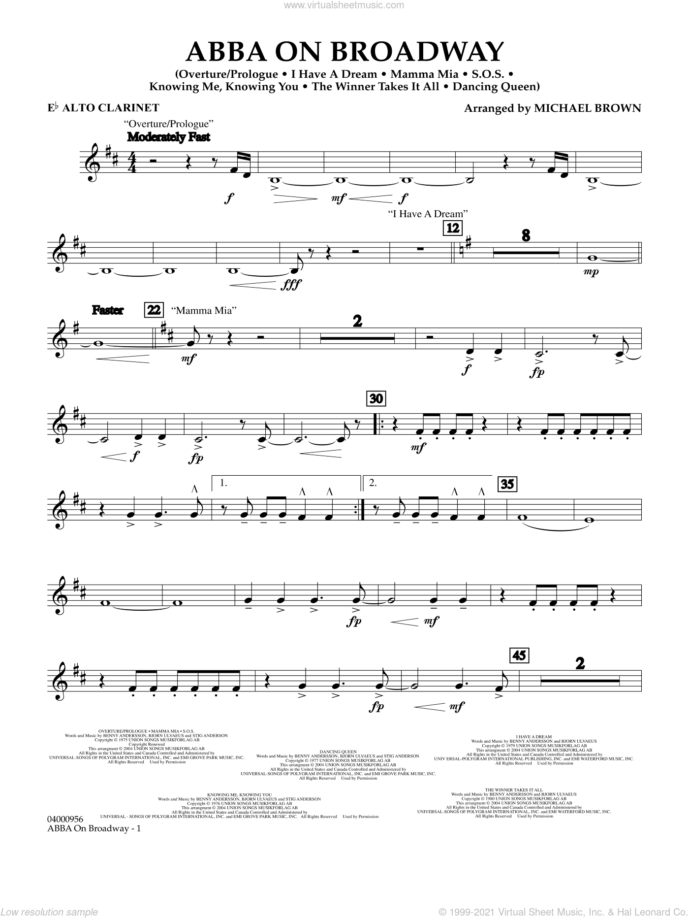 ABBA on Broadway (arr. Michael Brown) sheet music for concert band (Eb alto clarinet) by ABBA and Michael Brown, intermediate skill level