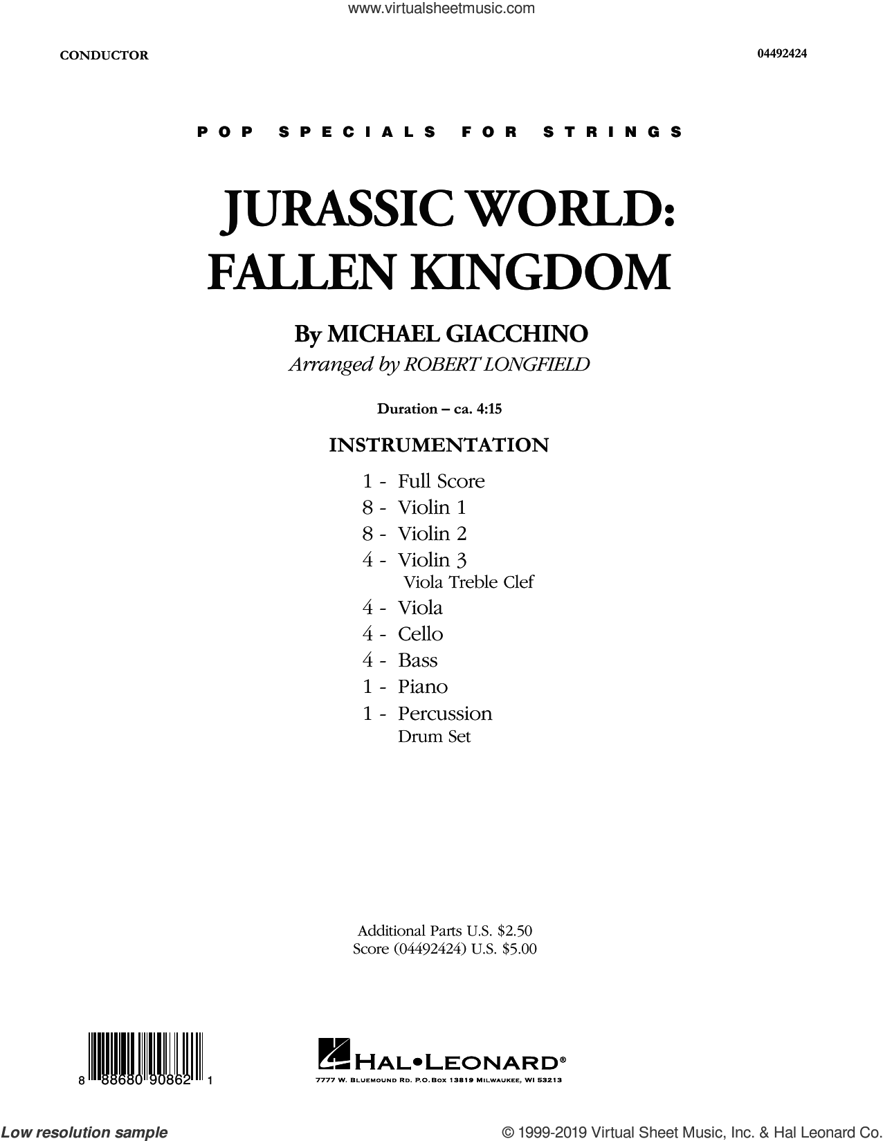 Jurassic World: Fallen Kingdom (arr. Robert Longfield) (COMPLETE) sheet music for orchestra by Robert Longfield and Michael Giacchino, classical score, intermediate skill level