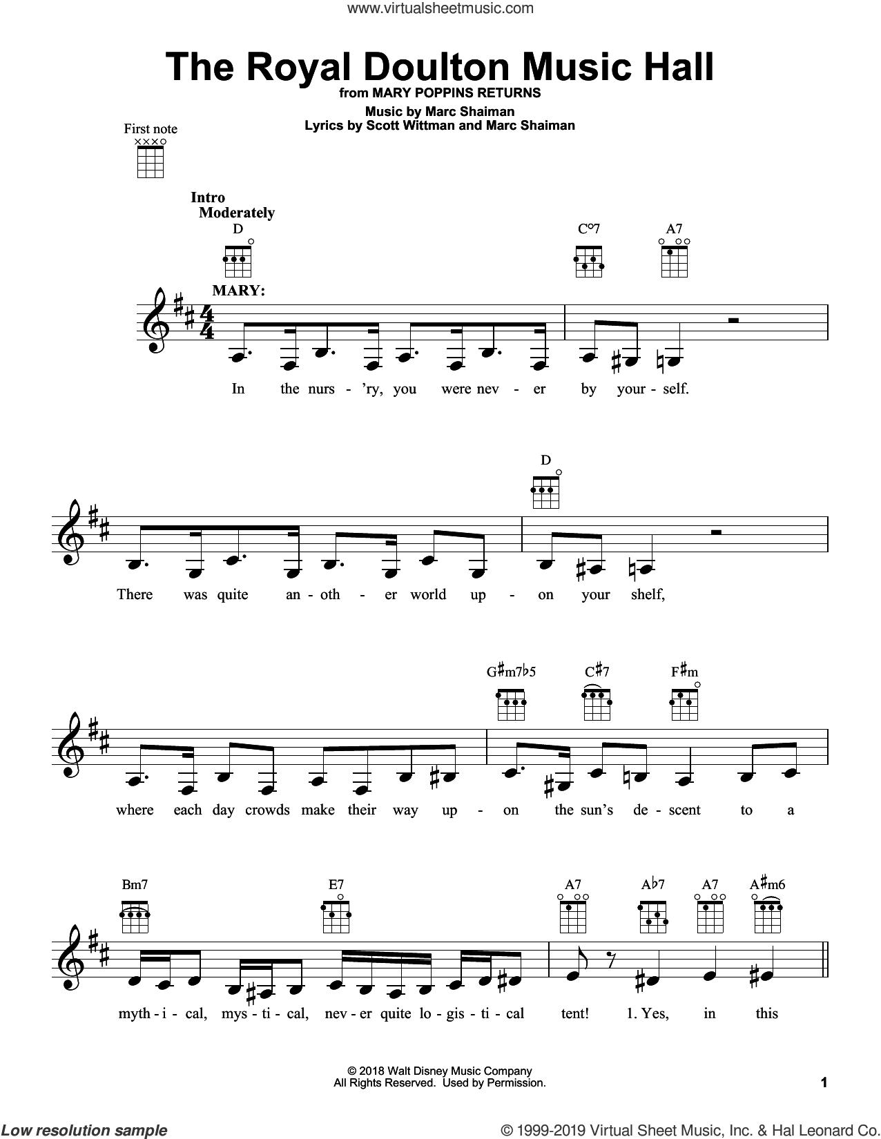 The Royal Doulton Music Hall (from Mary Poppins Returns) sheet music for ukulele by Emily Blunt & Lin-Manuel Miranda, Marc Shaiman and Scott Wittman, intermediate skill level