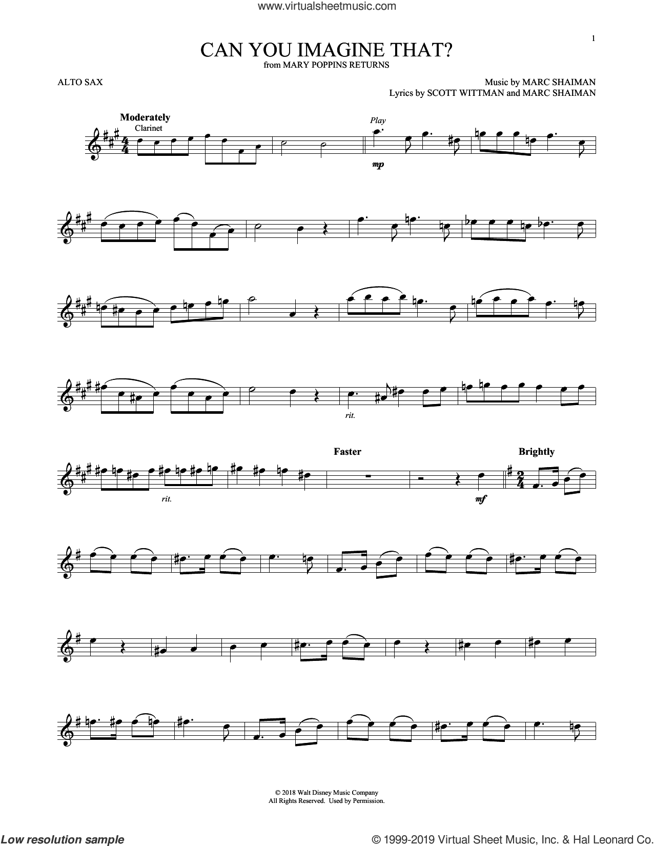 Can You Imagine That? (from Mary Poppins Returns) sheet music for alto saxophone solo by Emily Blunt & Company, Marc Shaiman and Scott Wittman, intermediate skill level