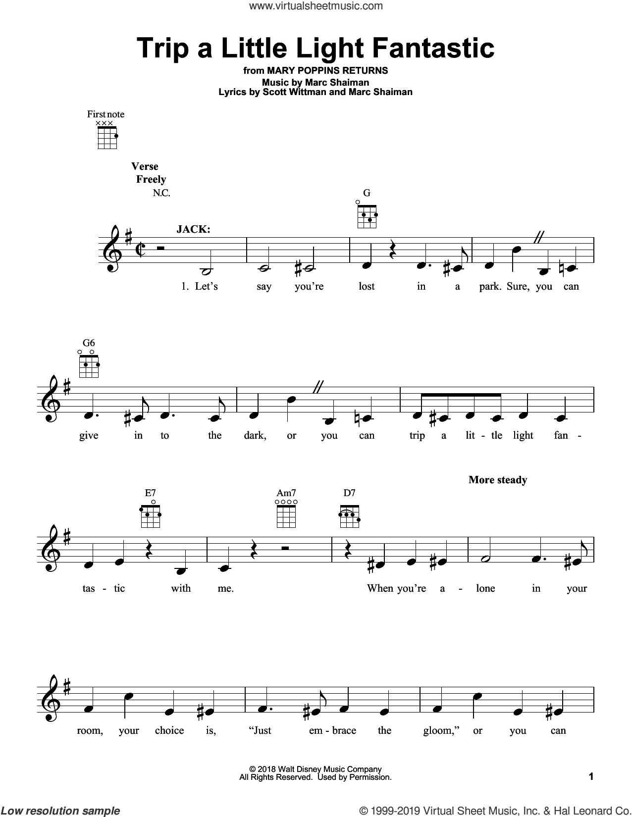 Trip A Little Light Fantastic (from Mary Poppins Returns) sheet music for ukulele by Lin-Manuel Miranda, Marc Shaiman and Scott Wittman, intermediate skill level