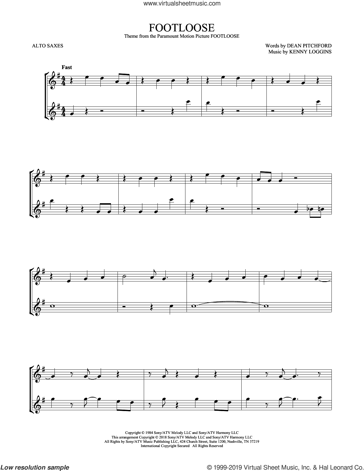 Footloose sheet music for two alto saxophones (duets) by Kenny Loggins and Dean Pitchford, intermediate skill level