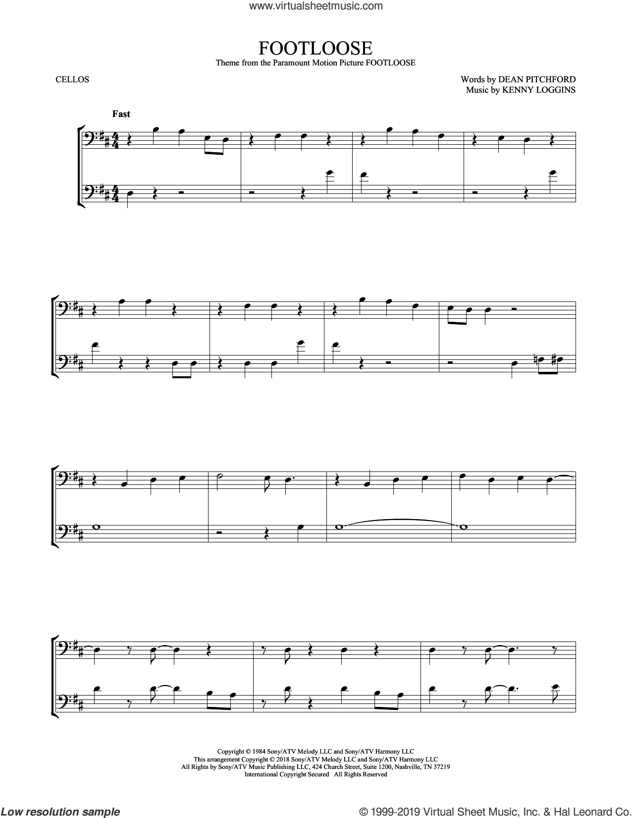Footloose sheet music for two cellos (duet, duets) by Kenny Loggins and Dean Pitchford, intermediate skill level