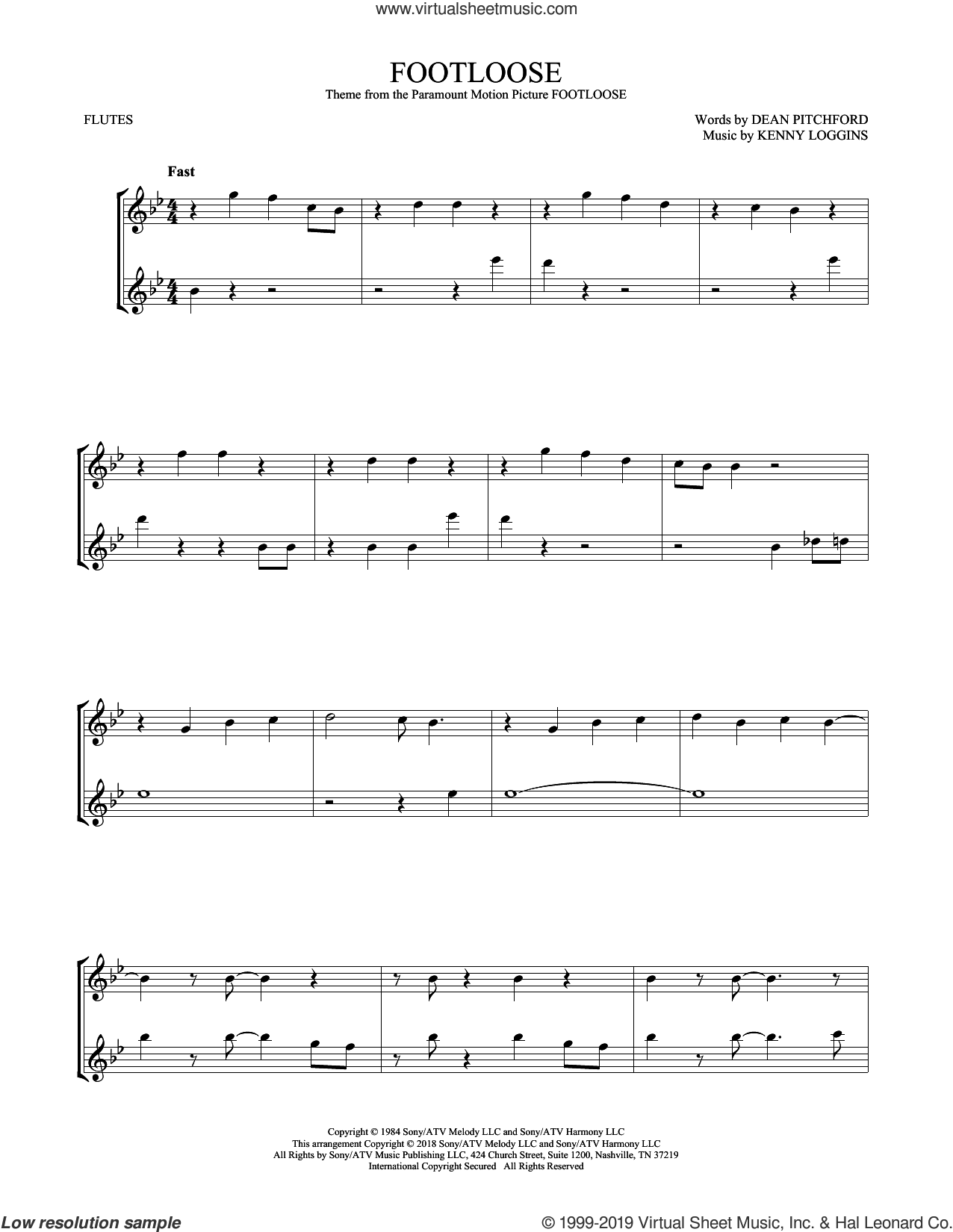 Footloose sheet music for two flutes (duets) by Kenny Loggins and Dean Pitchford, intermediate skill level