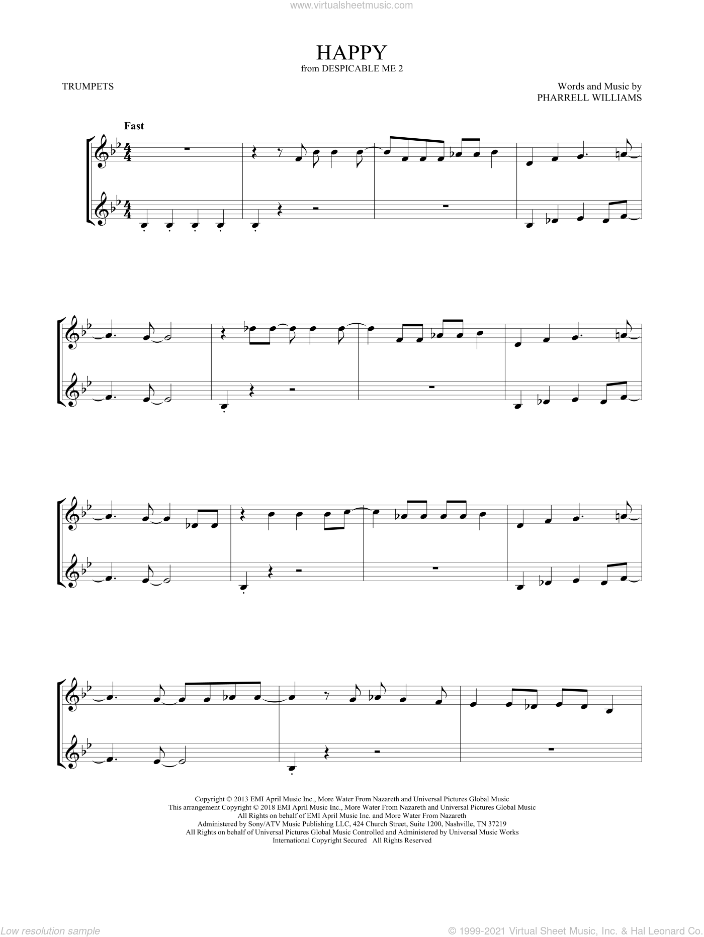 Happy (from Despicable Me 2) sheet music for two trumpets (duet, duets) by Pharrell and Pharrell Williams, intermediate skill level