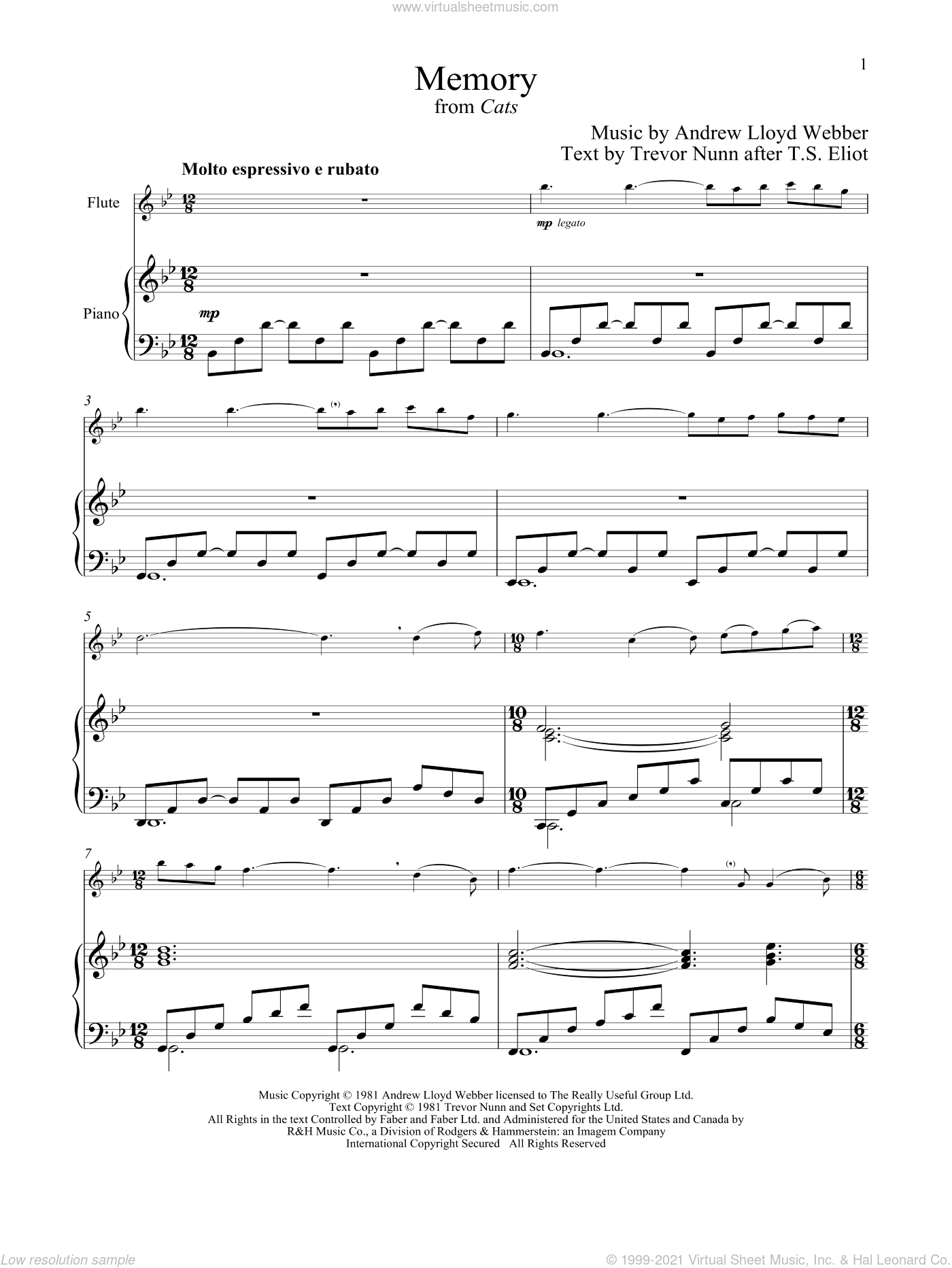 Memory (from Cats) sheet music for flute and piano by Andrew Lloyd Webber, intermediate skill level