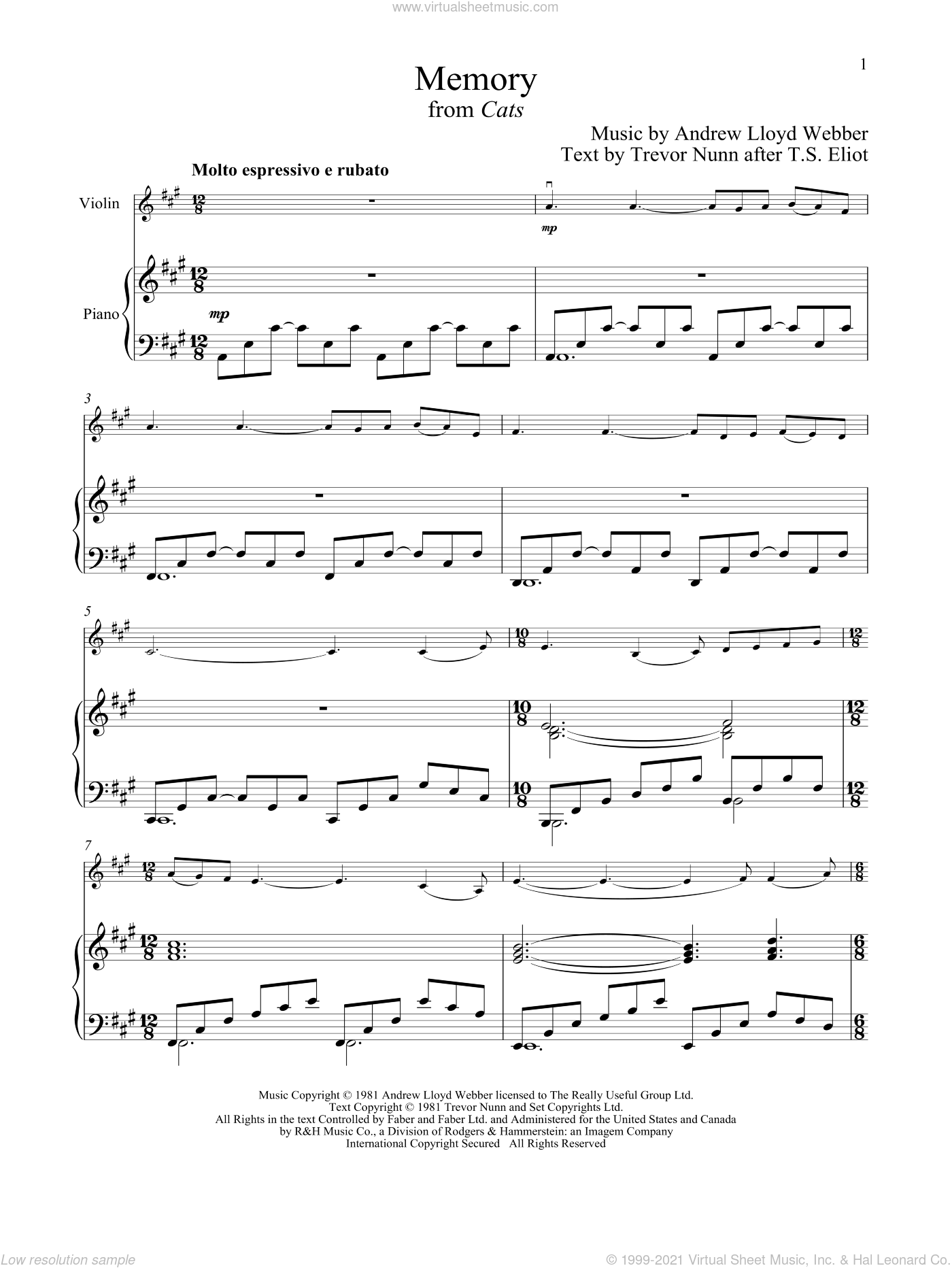 Memory (from Cats) sheet music for violin and piano by Andrew Lloyd Webber, intermediate skill level