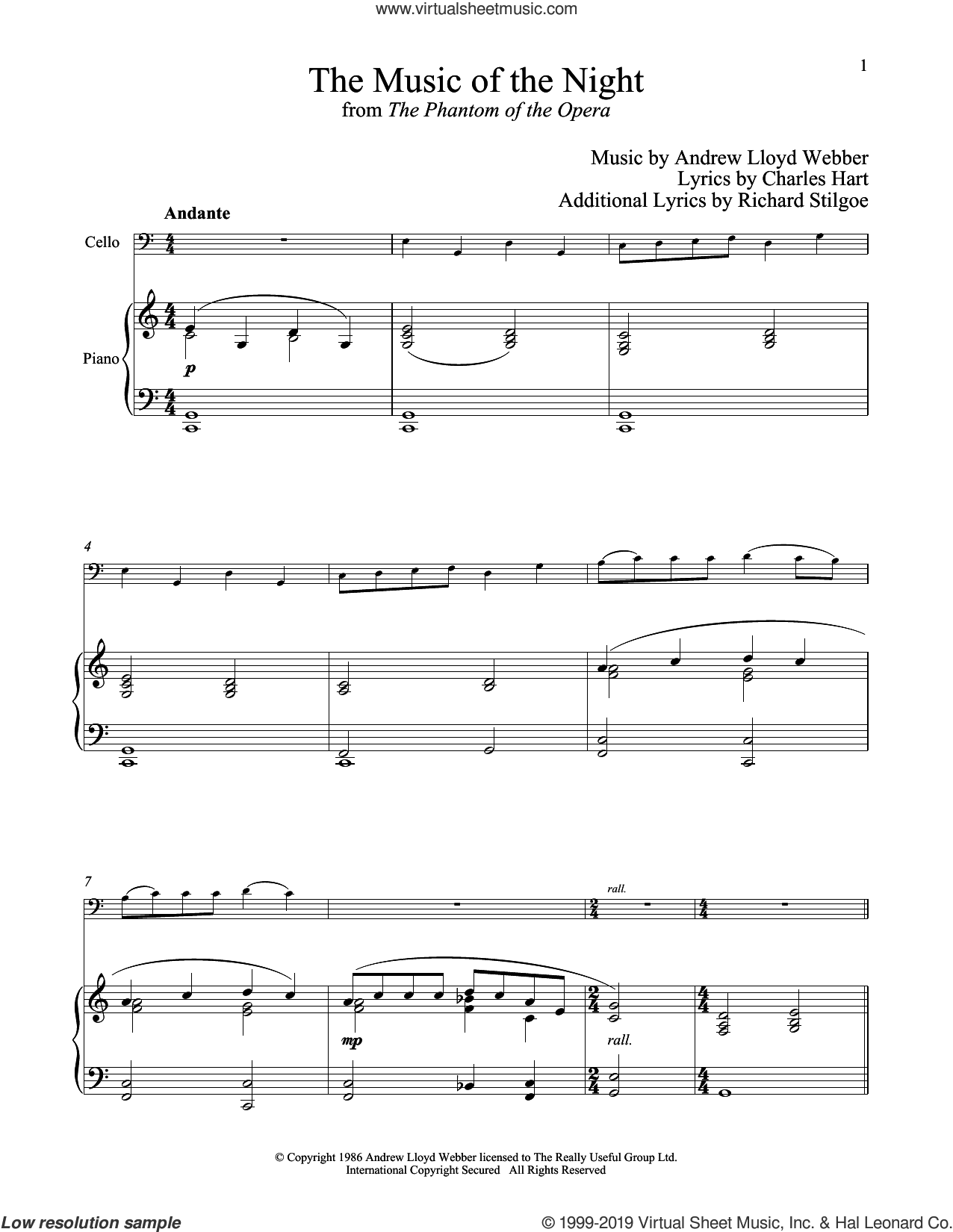 The Music of the Night (from The Phantom of the Opera) sheet music for cello and piano by Andrew Lloyd Webber, Charles Hart and Richard Stilgoe, intermediate skill level