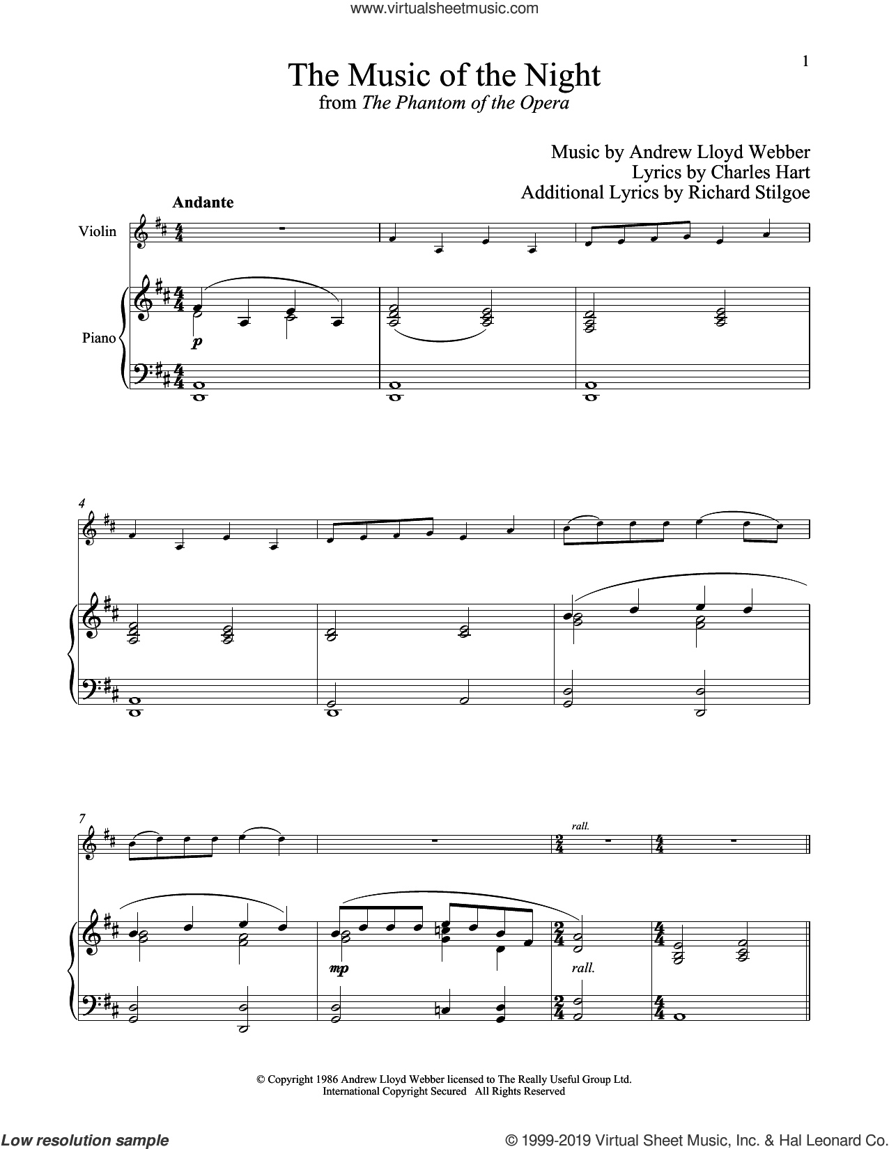 The Music of the Night (from The Phantom of the Opera) sheet music for violin and piano by Andrew Lloyd Webber, Charles Hart and Richard Stilgoe, intermediate skill level