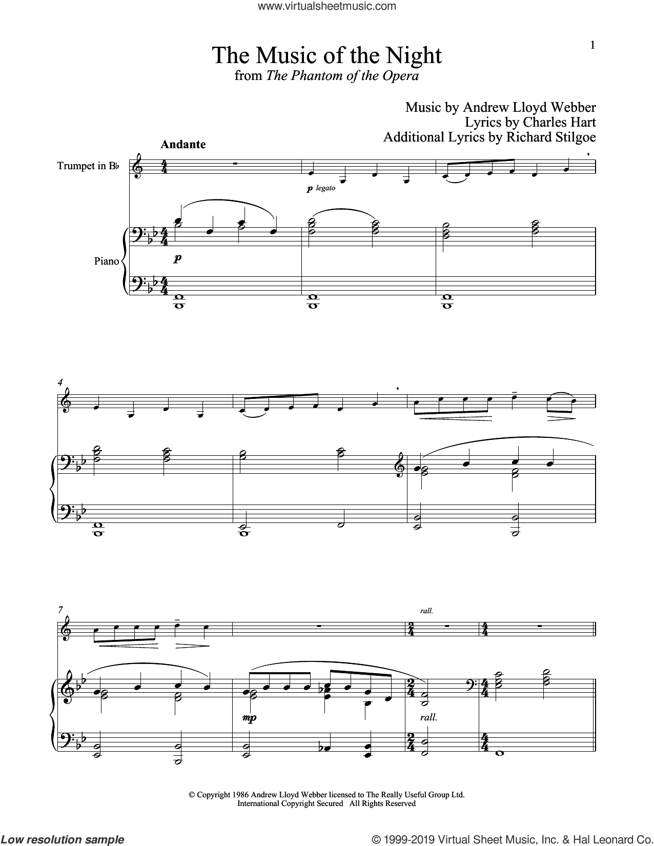 The Music of the Night (from The Phantom of the Opera) sheet music for trumpet and piano by Andrew Lloyd Webber, Charles Hart and Richard Stilgoe, intermediate skill level