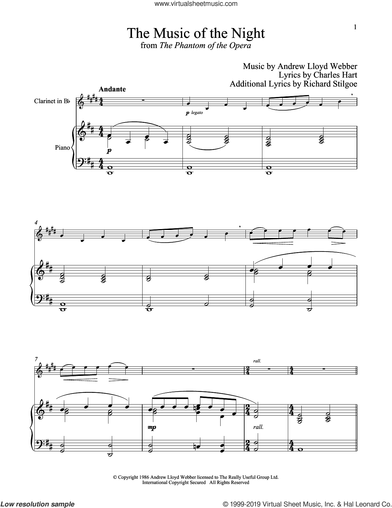 The Music of the Night (from The Phantom of the Opera) sheet music for clarinet and piano by Andrew Lloyd Webber, Charles Hart and Richard Stilgoe, intermediate skill level