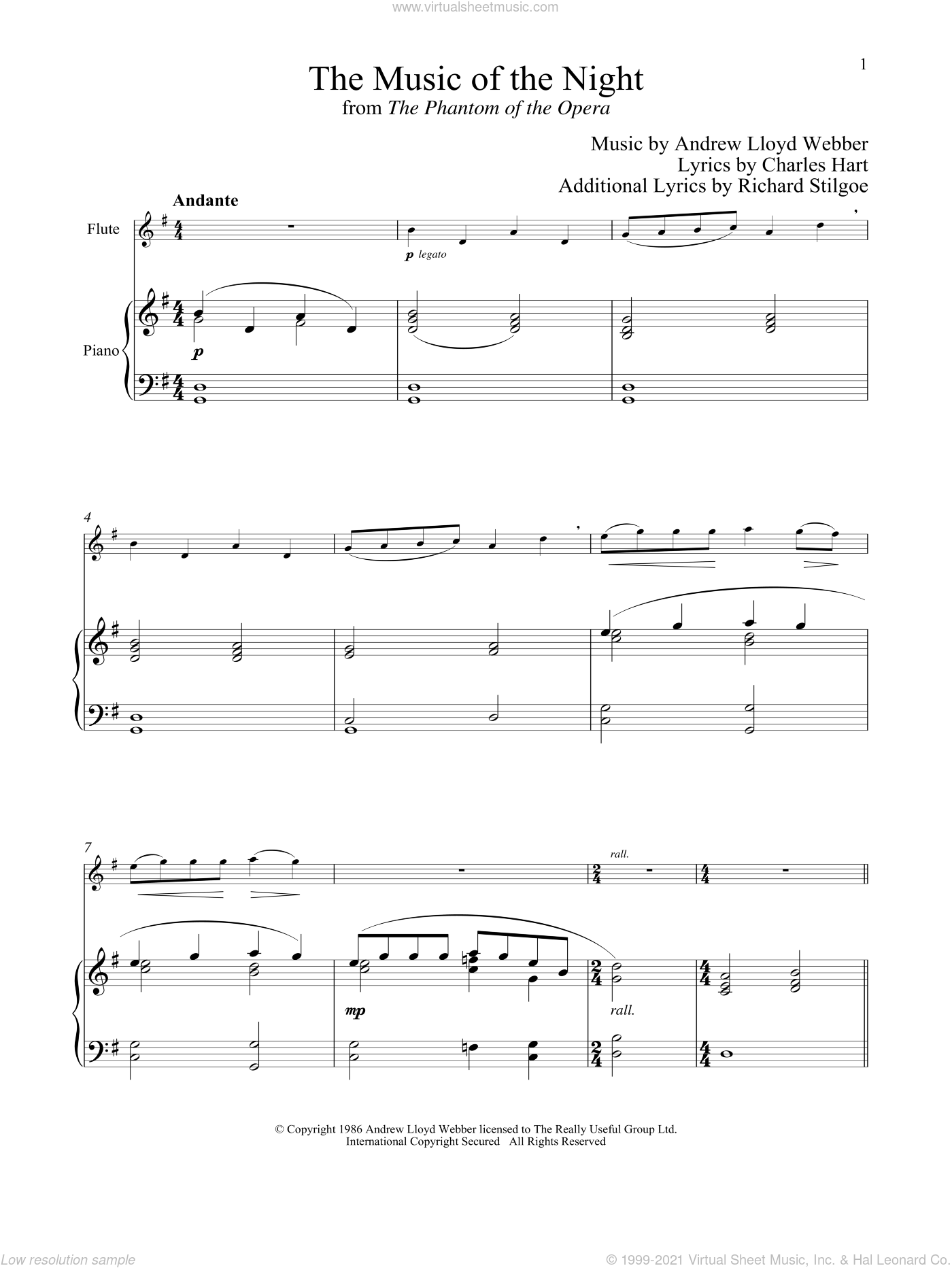 The Music of the Night (from The Phantom of the Opera) sheet music for flute and piano by Andrew Lloyd Webber, Charles Hart and Richard Stilgoe, intermediate skill level