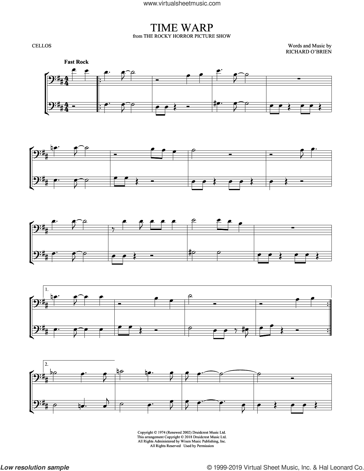 Time Warp sheet music for two cellos (duet, duets) by Richard O'Brien, intermediate skill level