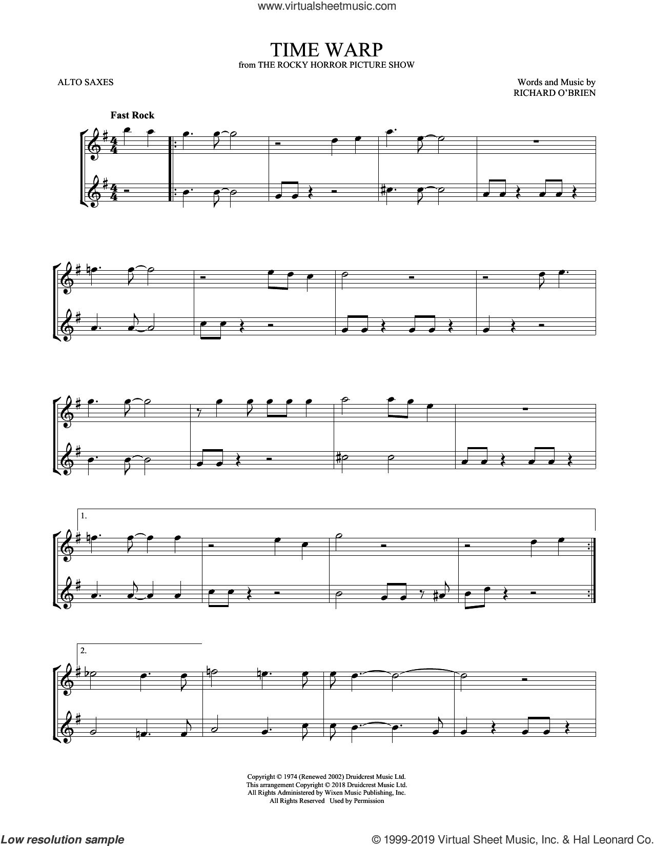 Time Warp sheet music for two alto saxophones (duets) by Richard O'Brien, intermediate skill level