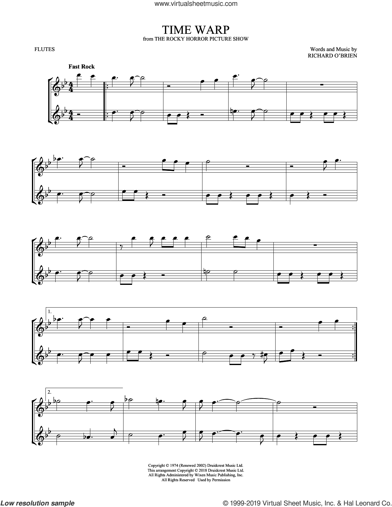 Time Warp sheet music for two flutes (duets) by Richard O'Brien, intermediate skill level