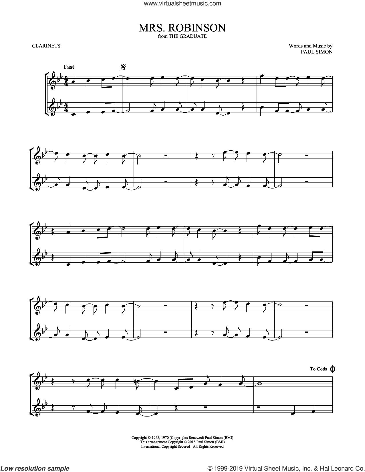 Mrs. Robinson sheet music for two clarinets (duets) by Simon & Garfunkel, intermediate skill level