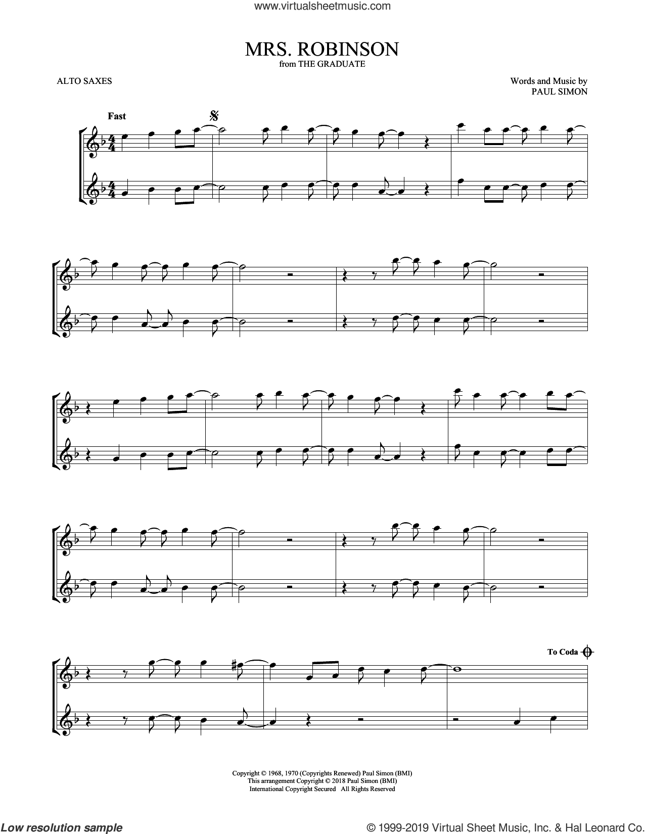 Mrs. Robinson sheet music for two alto saxophones (duets) by Simon & Garfunkel, intermediate skill level