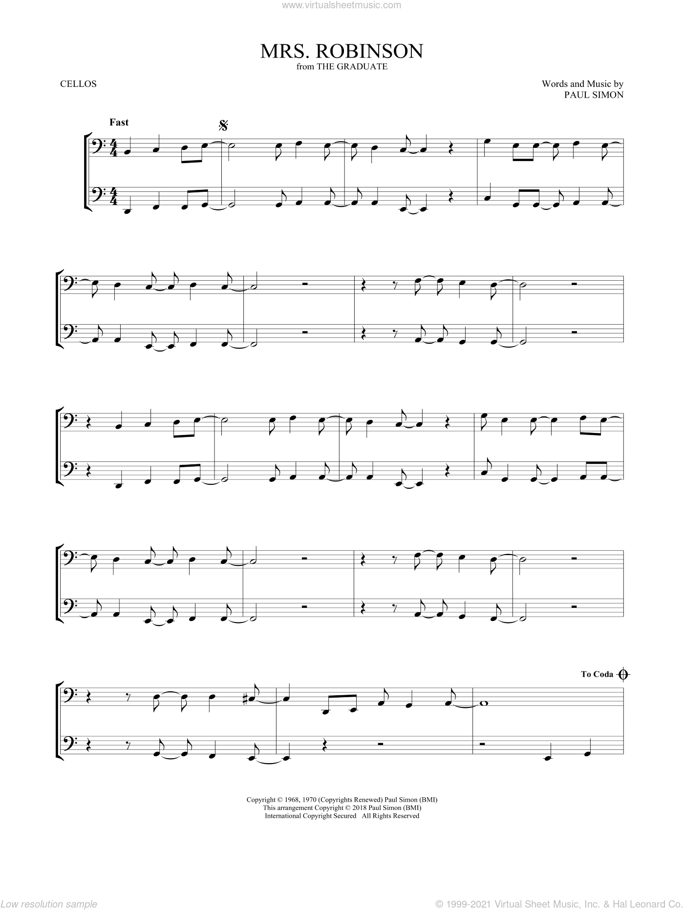 Mrs. Robinson sheet music for two cellos (duet, duets) by Simon & Garfunkel, intermediate skill level