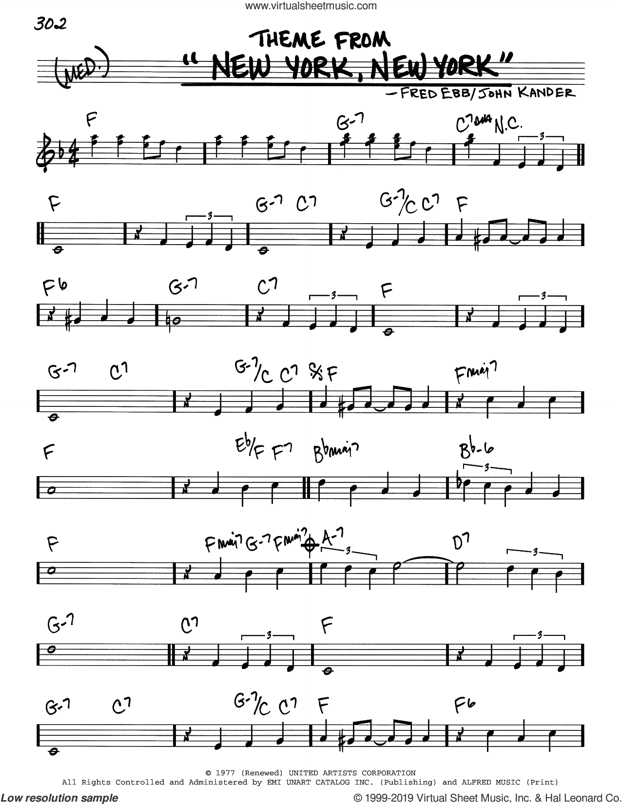 Theme From 'New York, New York' sheet music for voice and other instruments (real book) by Frank Sinatra, Fred Ebb and John Kander, intermediate skill level