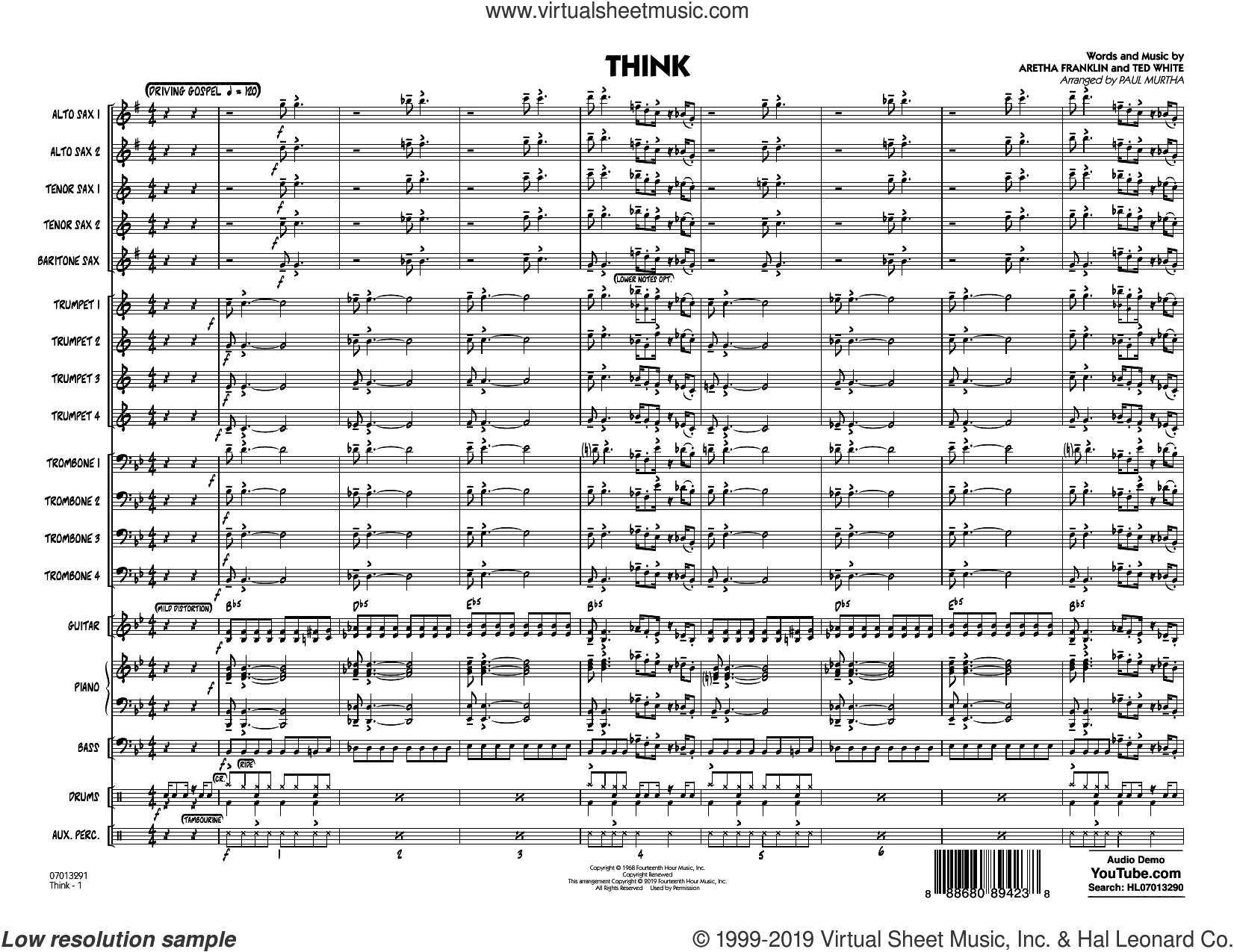 Think (arr. Paul Murtha) (COMPLETE) sheet music for jazz band by Paul Murtha, Aretha Franklin and Ted White, intermediate skill level