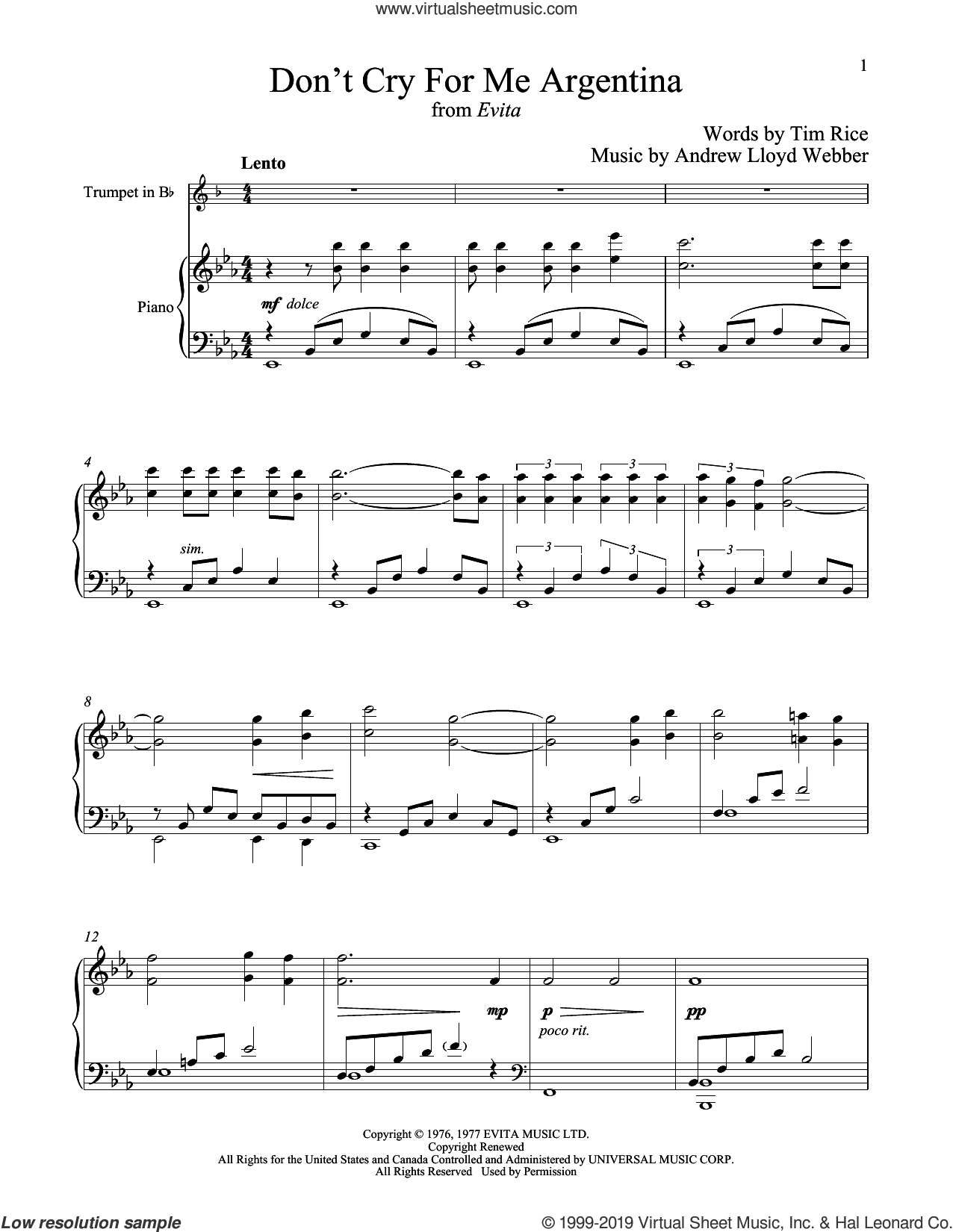Don't Cry For Me Argentina (from Evita) sheet music for trumpet and piano by Andrew Lloyd Webber, Madonna and Tim Rice, intermediate skill level