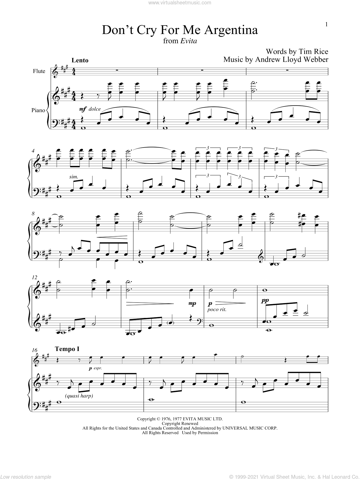 Don't Cry For Me Argentina (from Evita) sheet music for flute and piano by Andrew Lloyd Webber, Madonna and Tim Rice, intermediate skill level